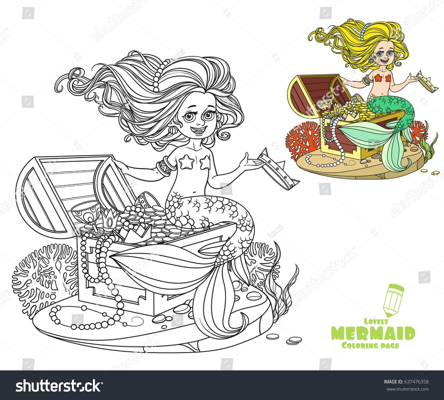 beautiful little mermaid sitting on stock vector 637476358