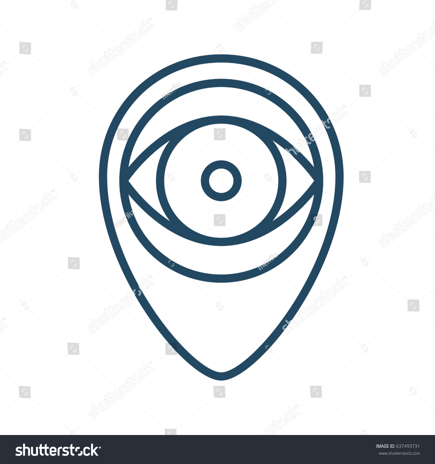Eye Inside Pin Vector Icon Meaning Stock Vector Royalty Free