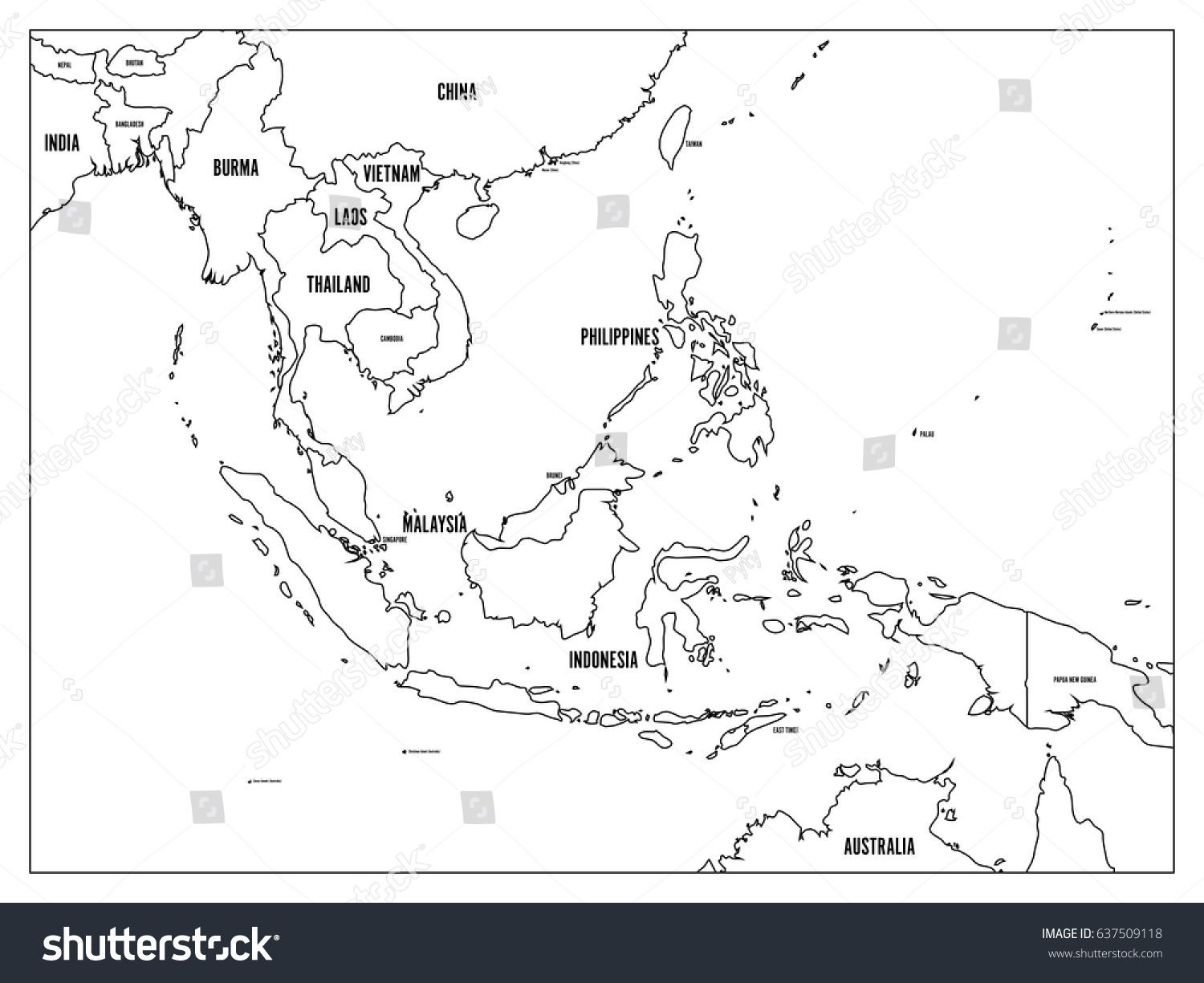 South East Asia Political Map Black Stock Vector 637509118