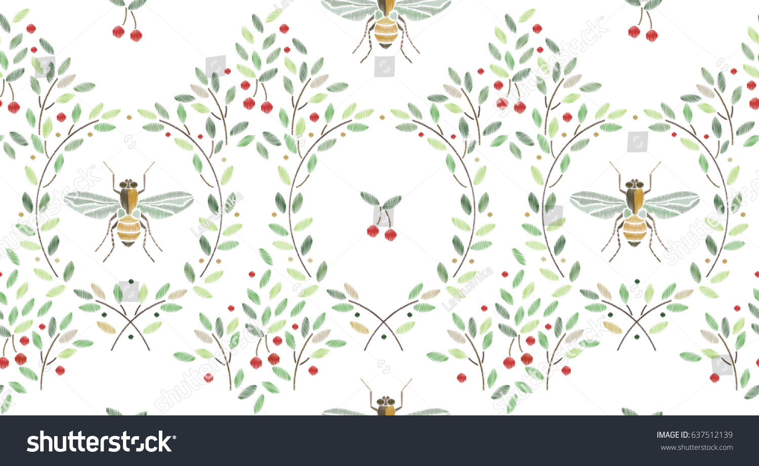 Vintage Seamless Pattern With Bees And Cherry Branches On Withe Background For Textile Book Covers