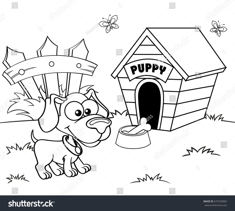 dog house black white illustration coloring stock vector 637520002
