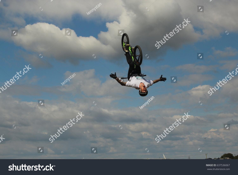 stock-photo-dorset-july-freestyle-biker-