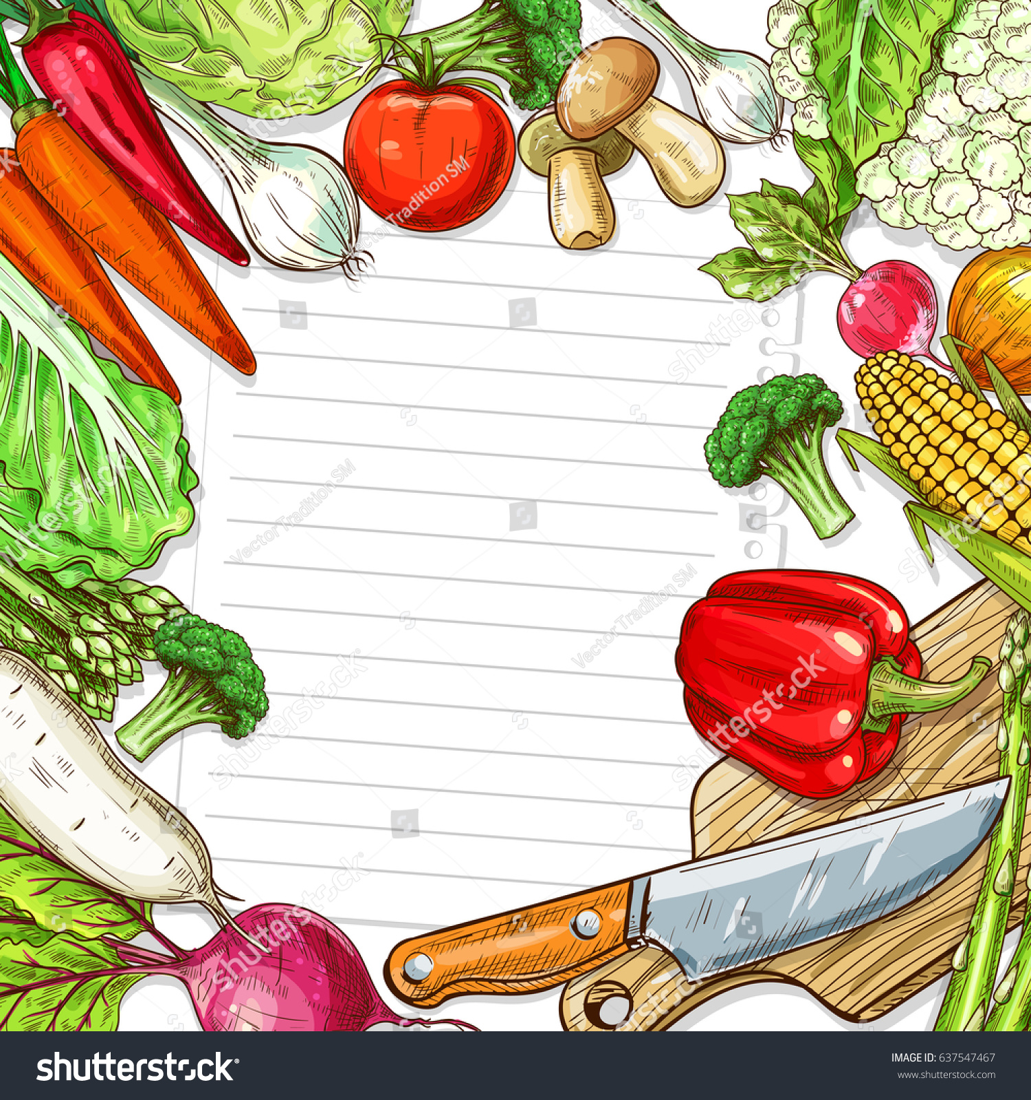 Recipe blank paper note vegetables design vectores en stock recipe blank paper note vegetables design vectores en stock 637547467 shutterstock forumfinder Images