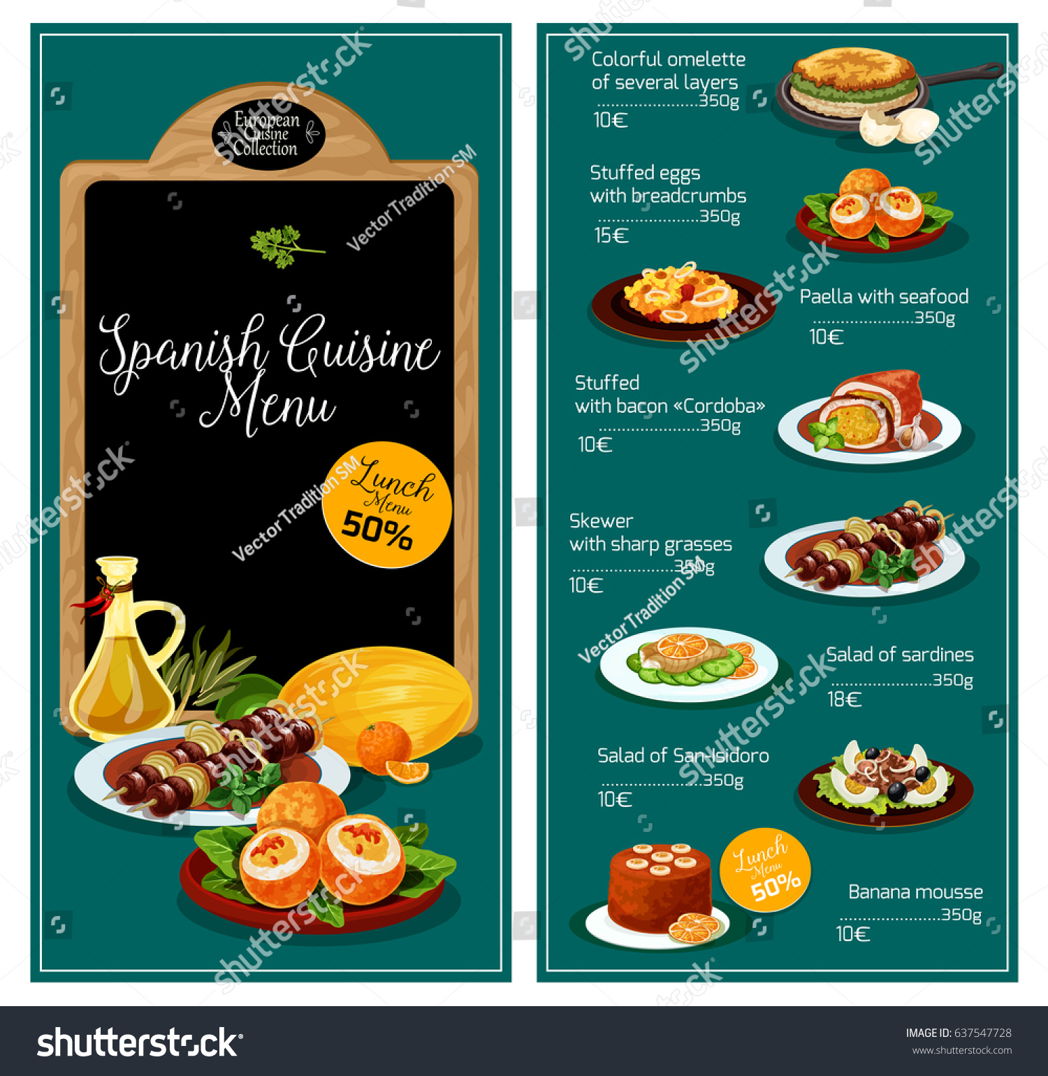 Spanish cuisine restaurant menu spain traditional stock for Conception cuisine snack