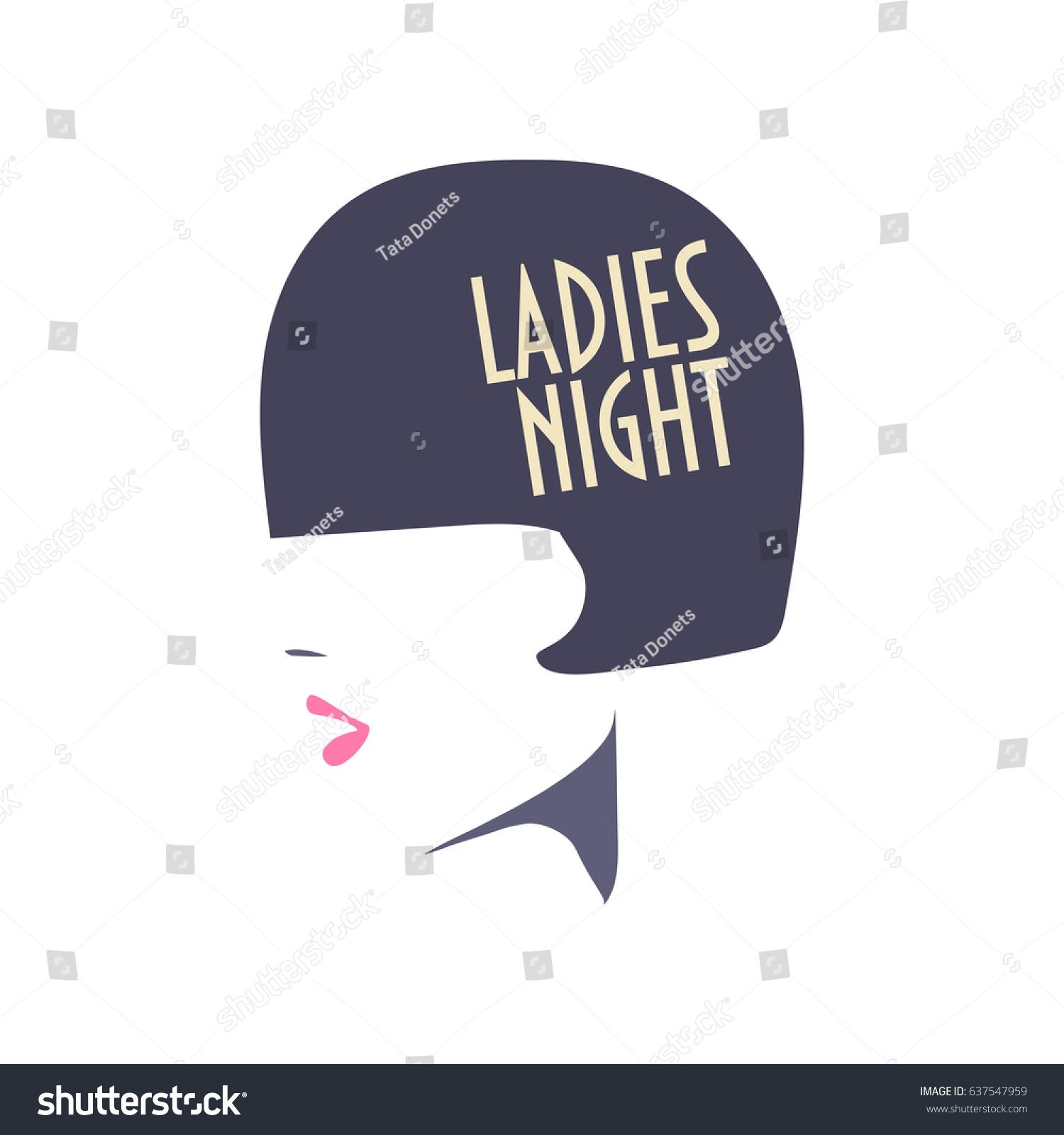 Vector Minimalist Illustration Ladies Night Poster Stock Vector
