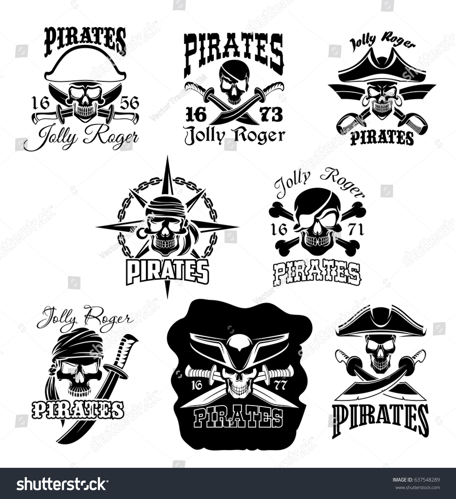 Pirate Skull Crossbones Icons Jolly Roger Stock Vector Royalty Free