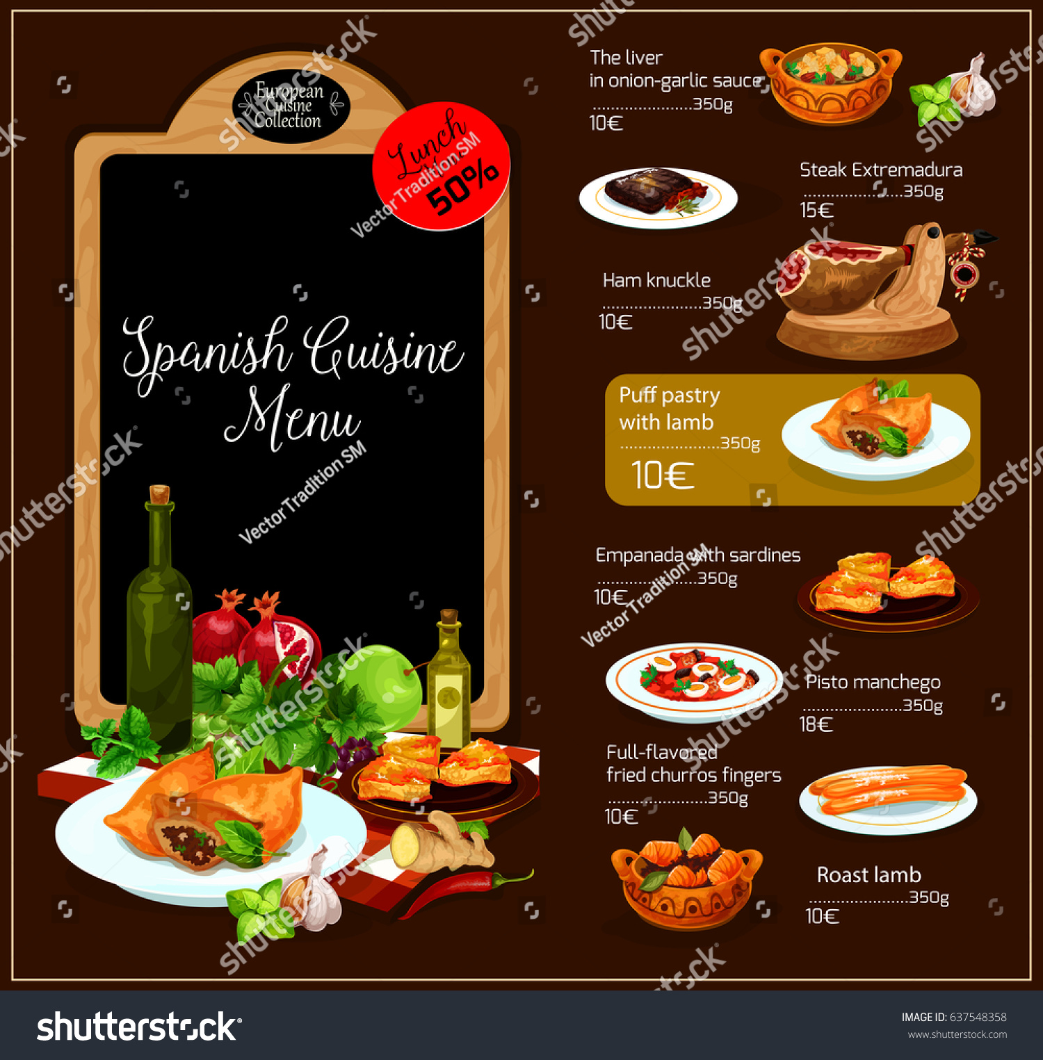 Spanish restaurant vector menu spain traditional stock for Conception cuisine snack