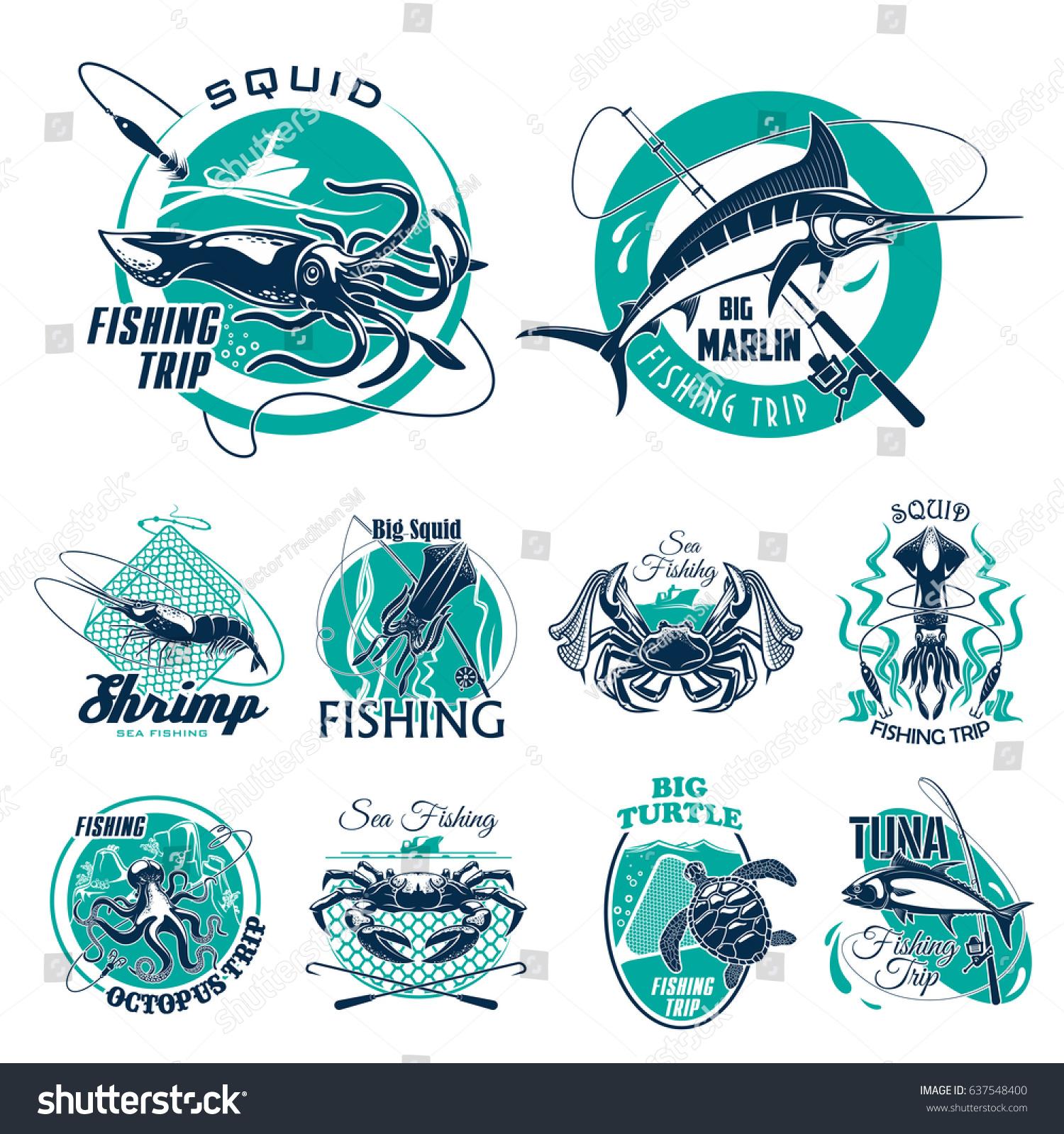 Fishing Trip Vector Icons Fisherman Adventure Stock Vector Hd
