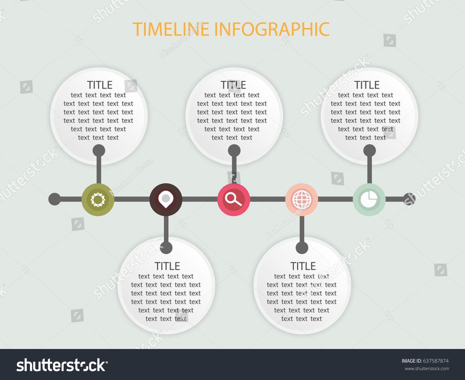 Timeline Infographic Template Circle Blank Add Stock Vector ...