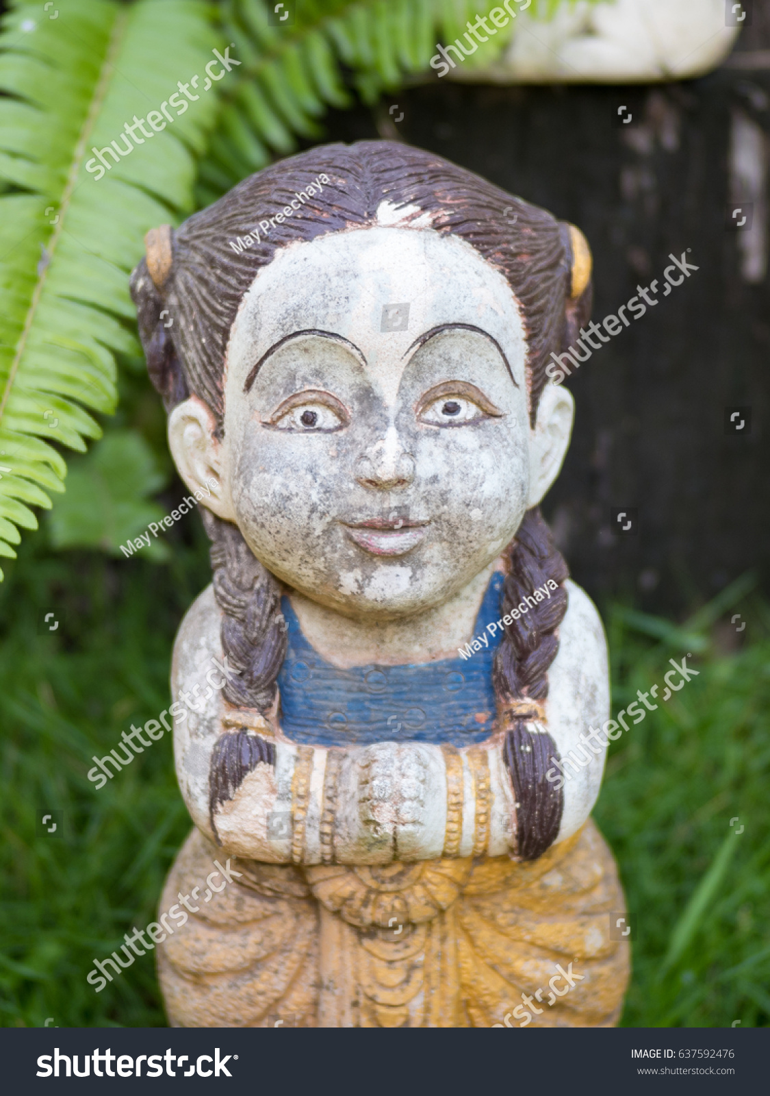 Old Welcome Children Statue Thai Girl Stock Photo Royalty Free