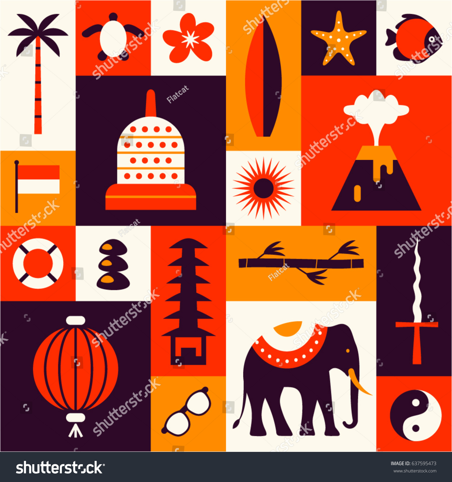 Indonesian Cultural Symbols Set Flat Icons Stock Vector Hd Royalty