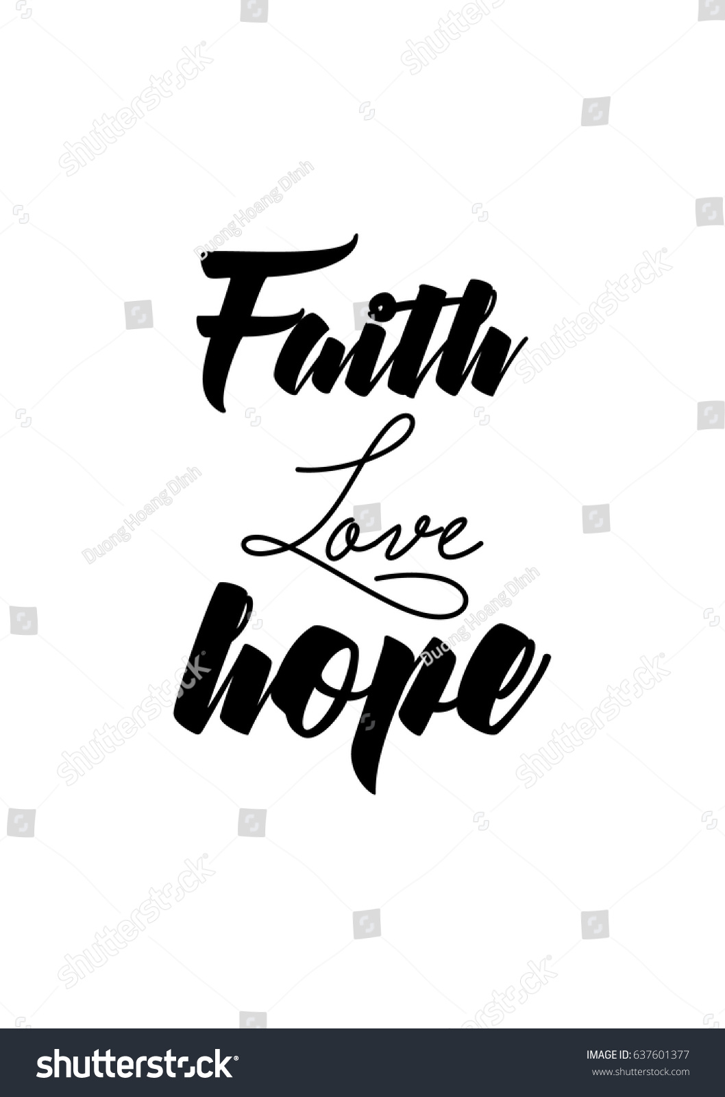 Faith Love Hope Quotes Handwritten Lettering Positive Quote About Love Stock Vector