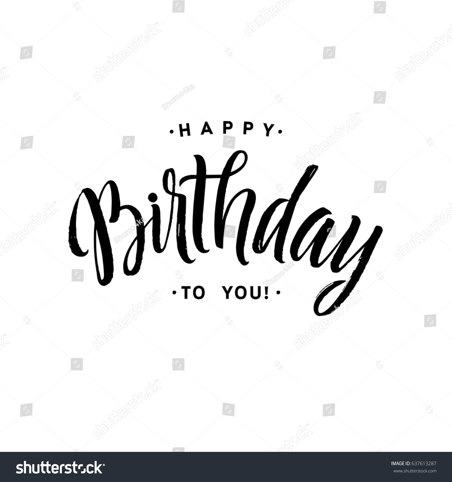 Happy Birthday You Calligraphy Greeting Card Stock Vector