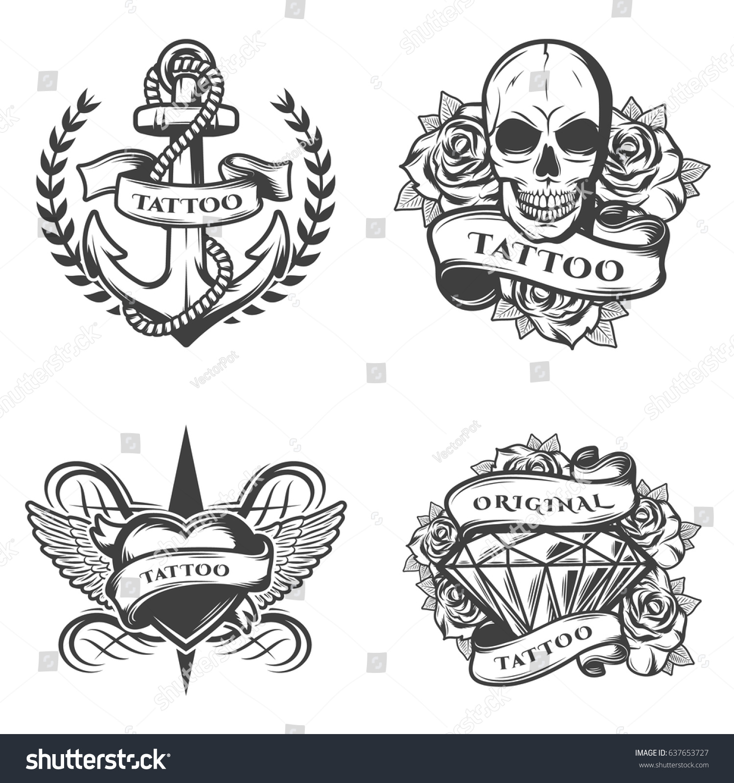 Vintage tattoo studio emblems set anchor stock vector for Vintage tattoo art parlor