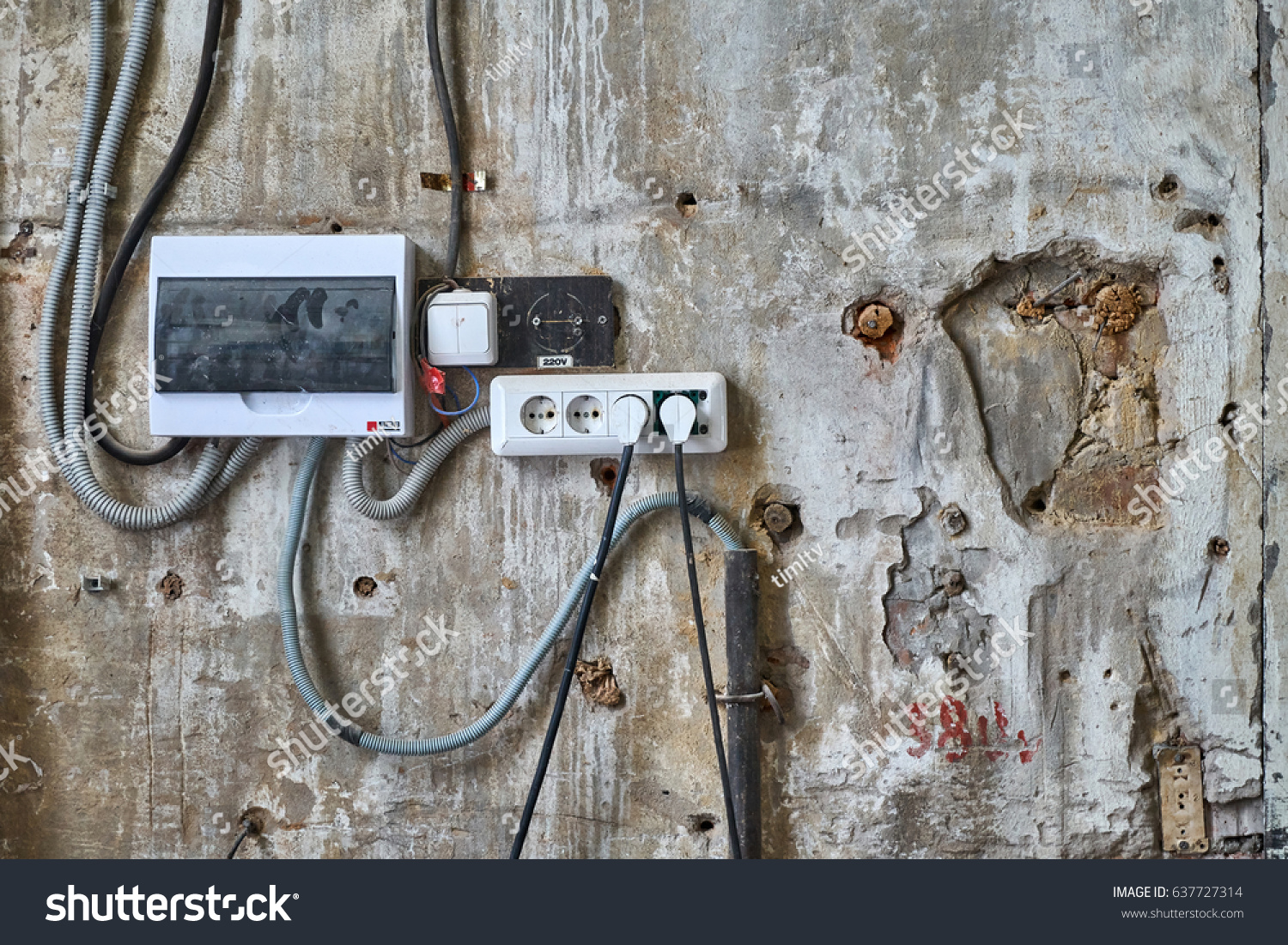 Old Wall Electrical Outlets Stock Photo Edit Now 637727314 Wiring An Outlet With