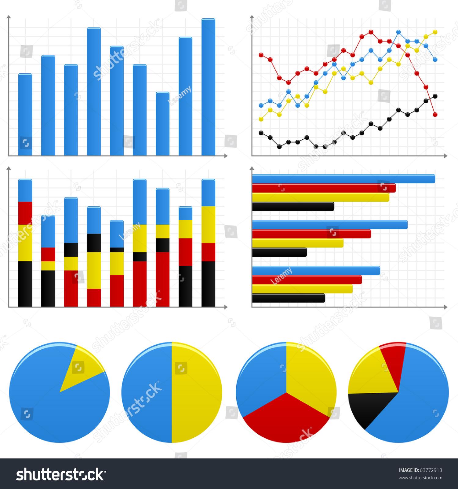 Bar Pie Graph Chart Stock Vector Illustration 63772918