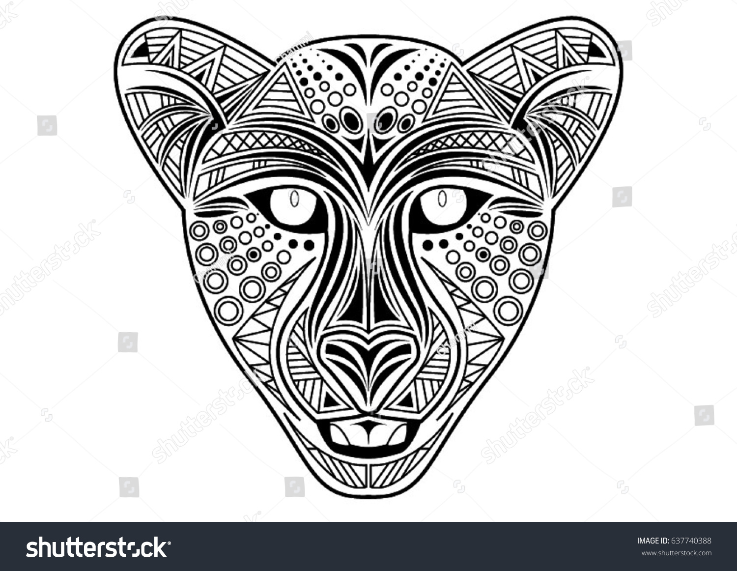 coloring page cheetah stock vector 637740388 shutterstock