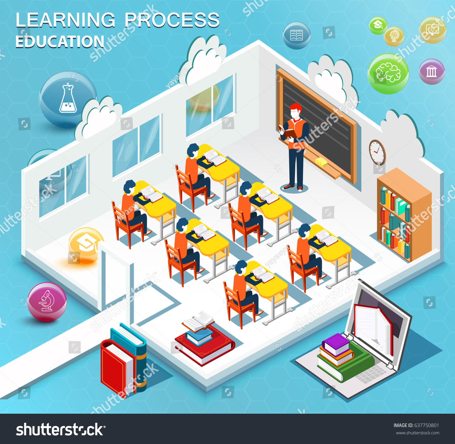 Classroom Design Study ~ Pupils study classroom concept learning isometric stock