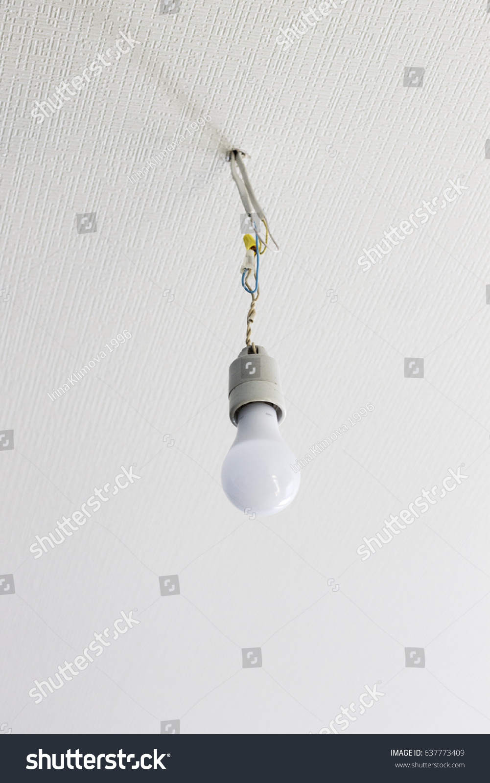 White Bulb Hanging White Ceiling On Stock Photo (Royalty Free ...