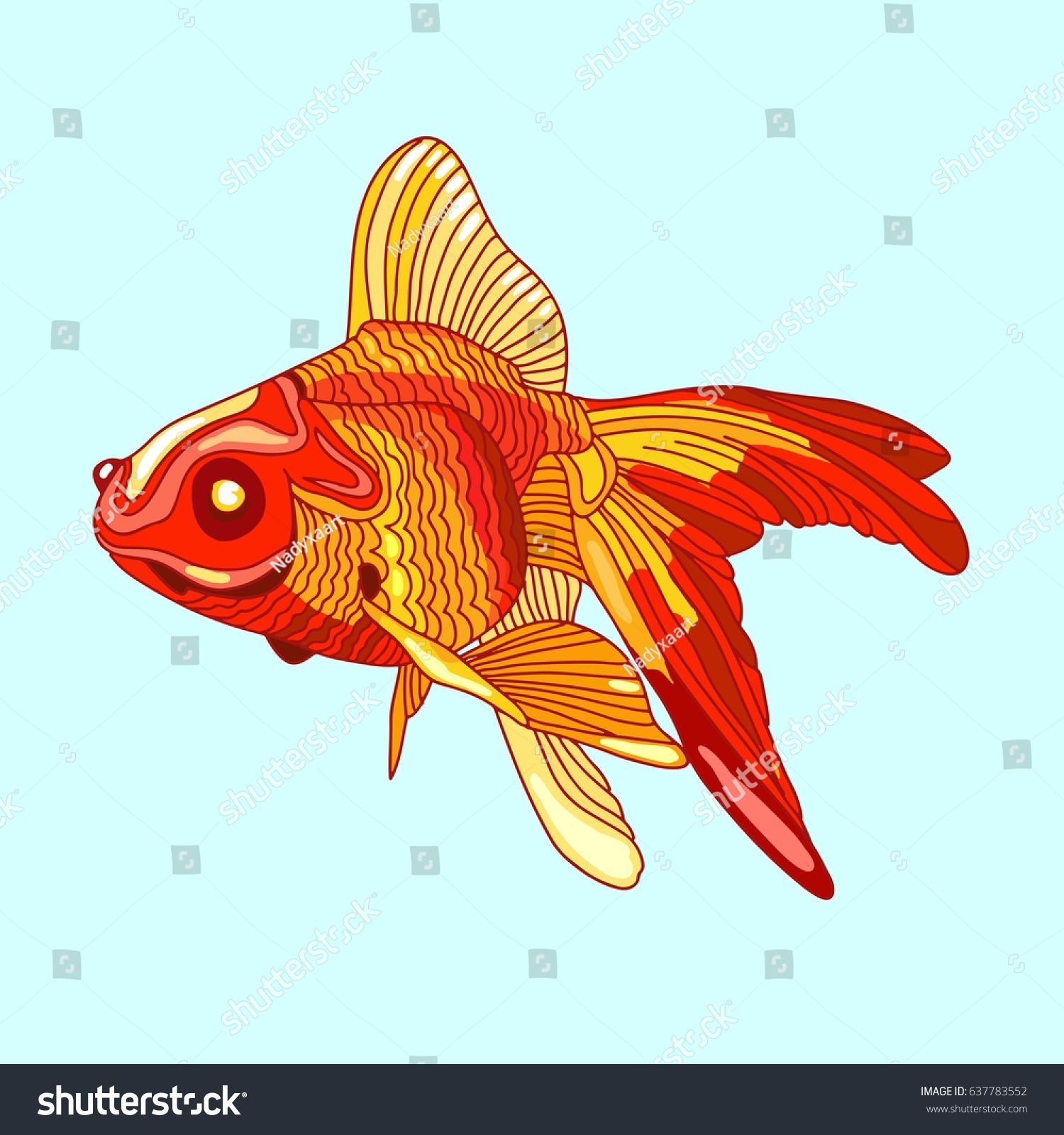 Goldfish Vector Color Pattern Yellow Red Stock Vector 637783552 ...