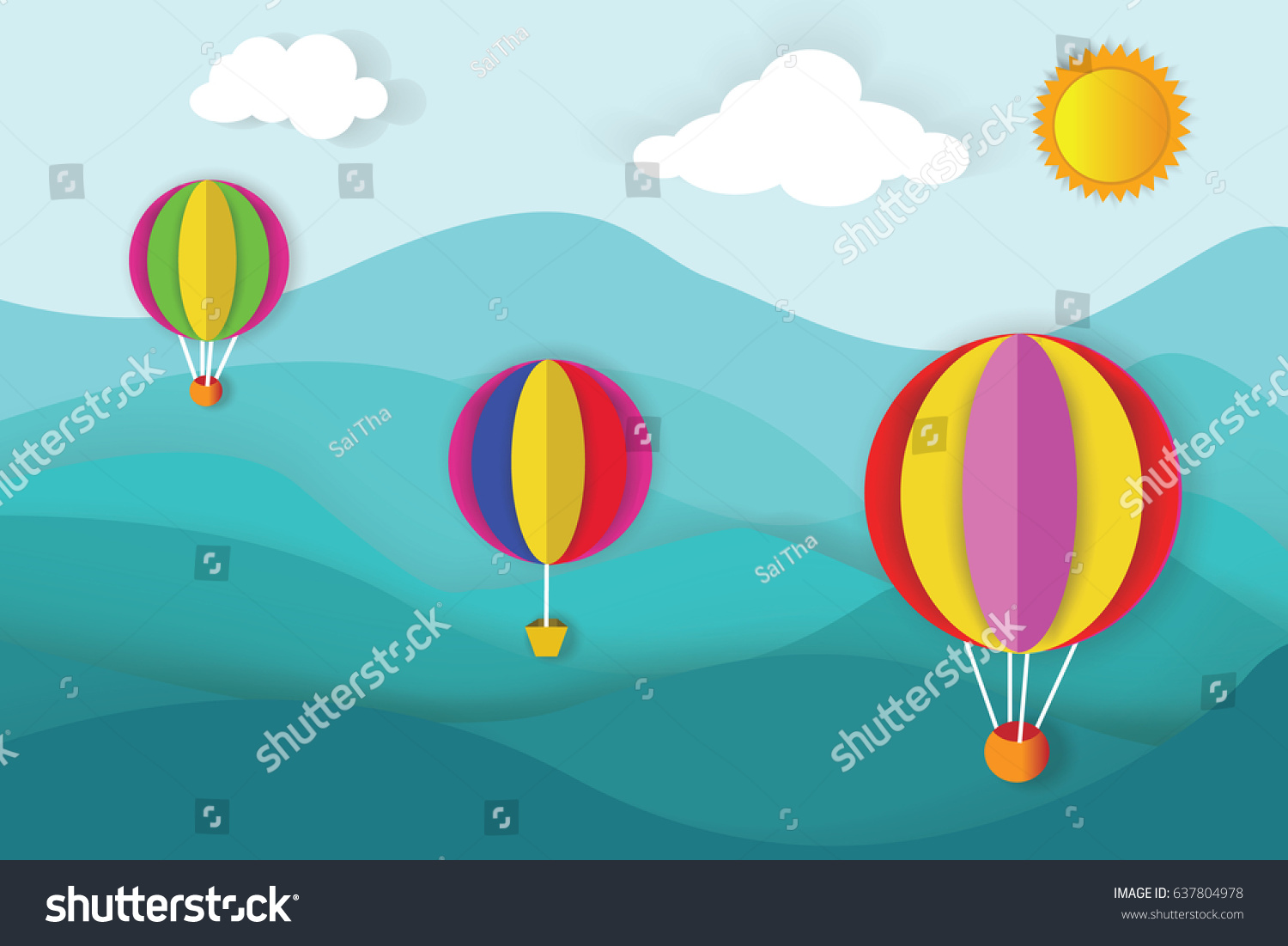 Origami made colorful hot air balloon stock vector 637804978 origami made colorful hot air balloon flying over the top of mountain viewper art jeuxipadfo Choice Image