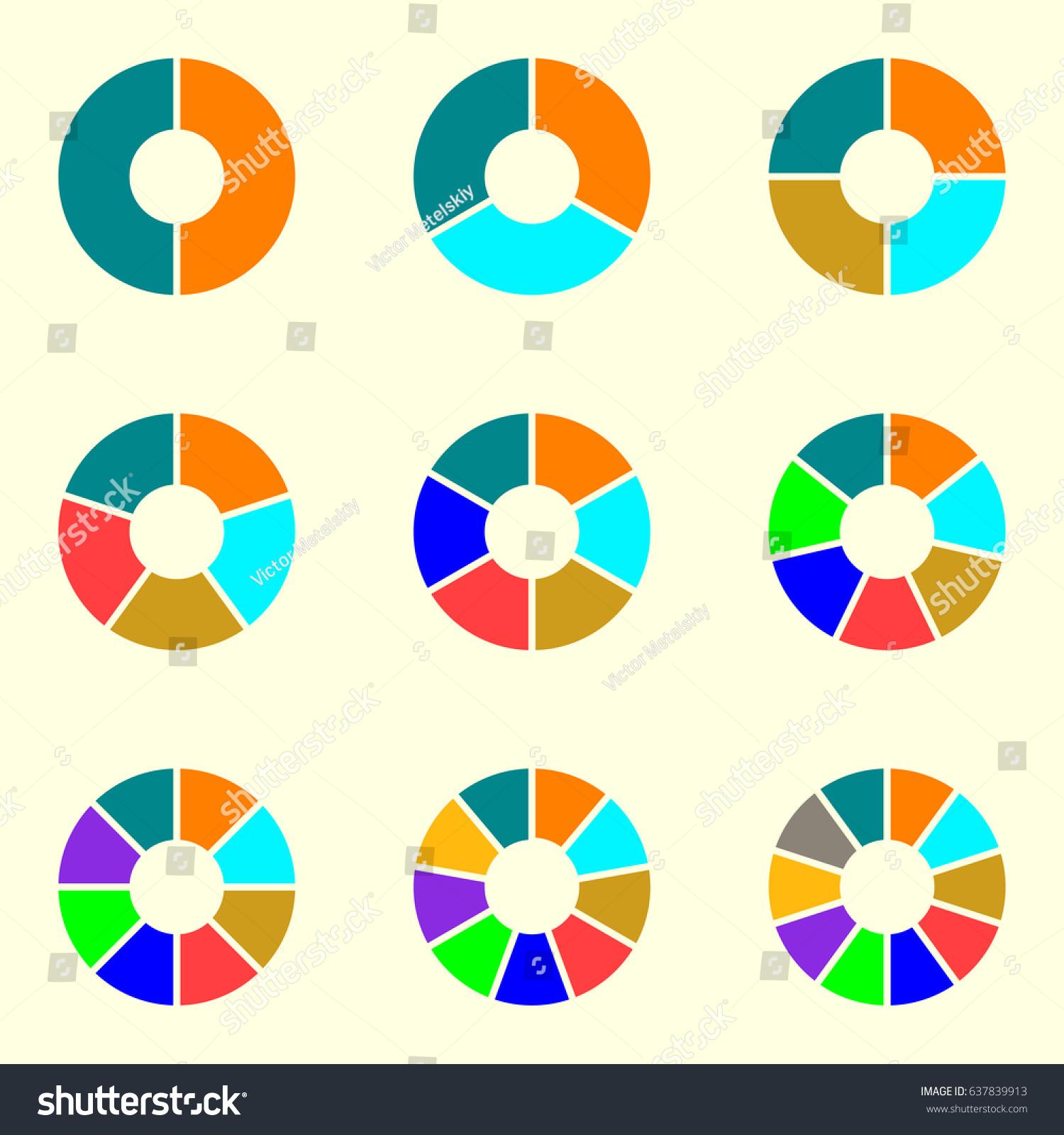 circular diagram set pie chart template circle infographics