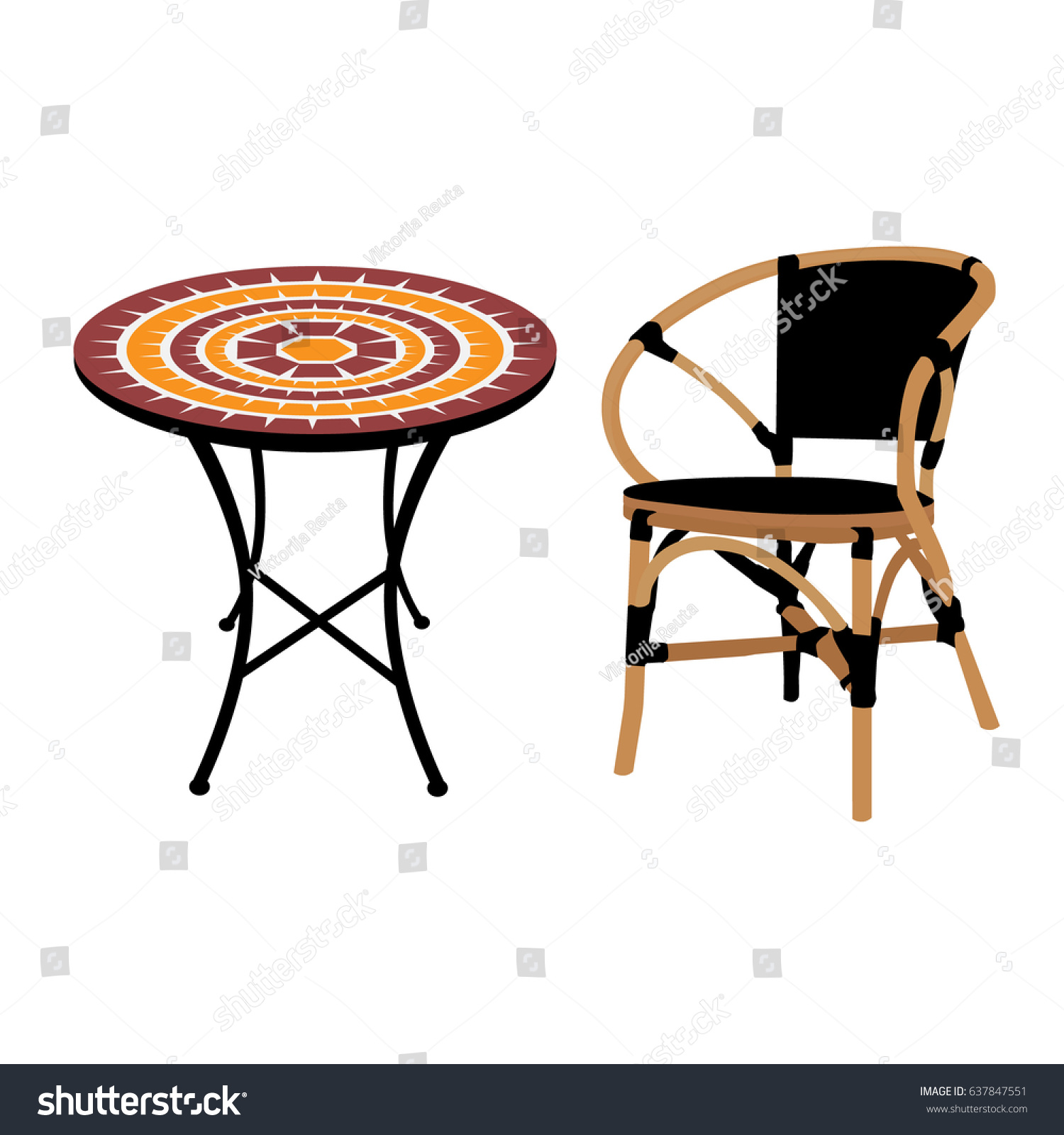 Vector Illustration Round Table Bamboo Chair Stock Vector