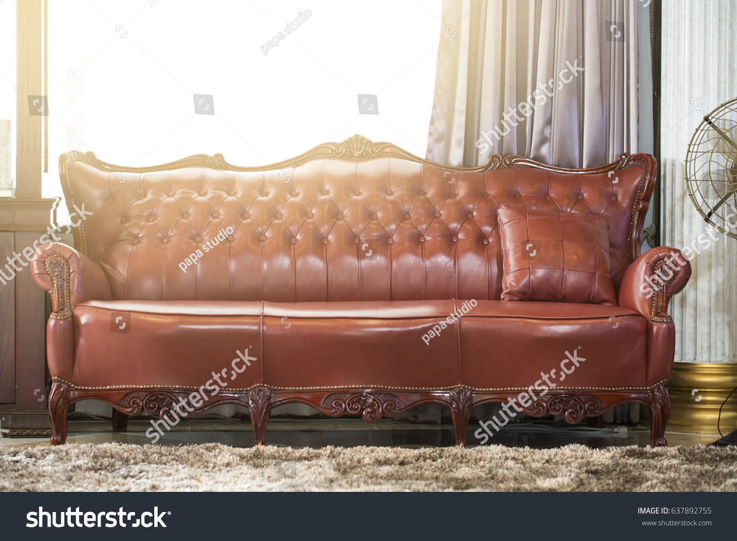 Leather Sofa Vintage Style Room Warm Stock Photo 637892755  ~ Leather Sofa Vintage Style