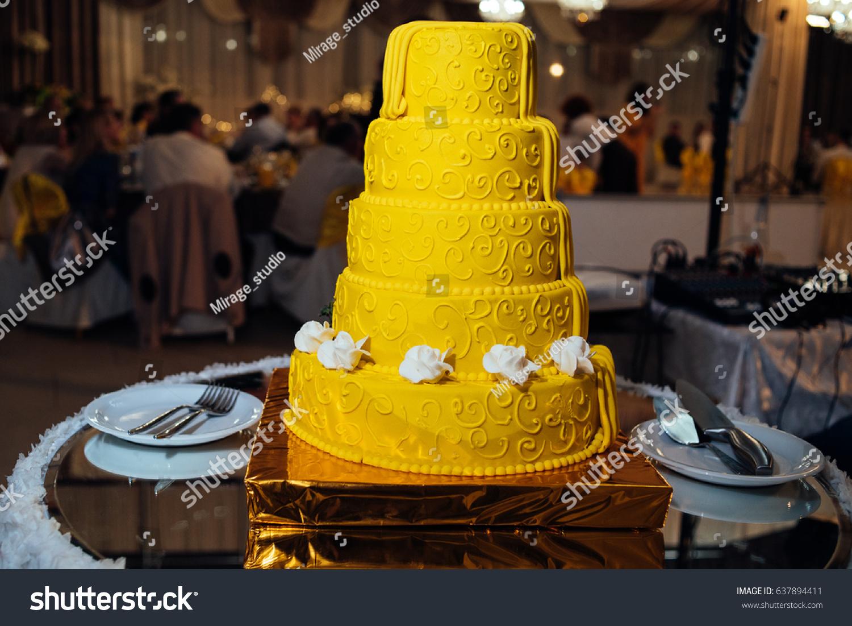 Round Multi Tiered Yellow Brown Wedding Stock Photo (Edit Now ...