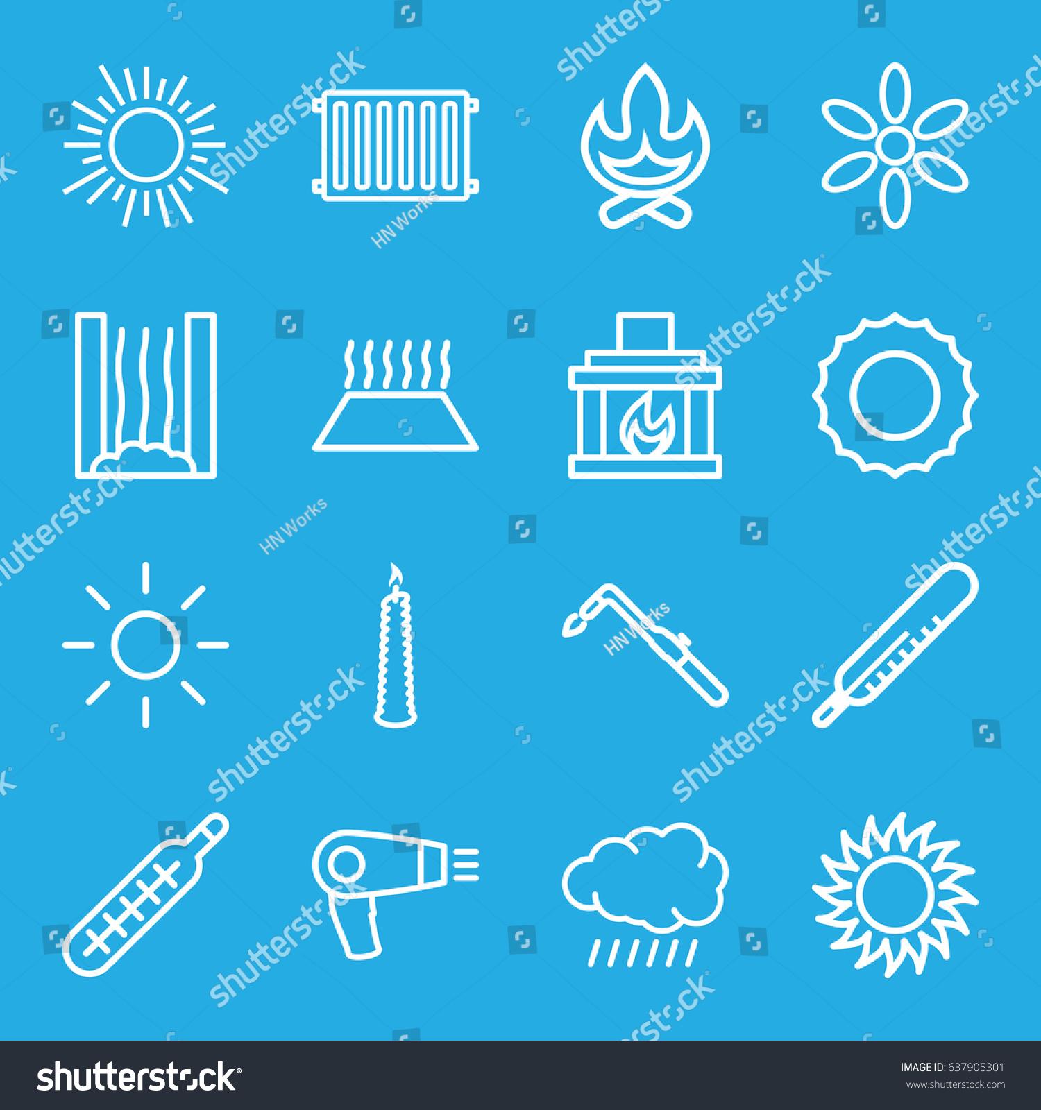 Heat Icons Set Set 16 Heat Stock Vector 637905301 - Shutterstock