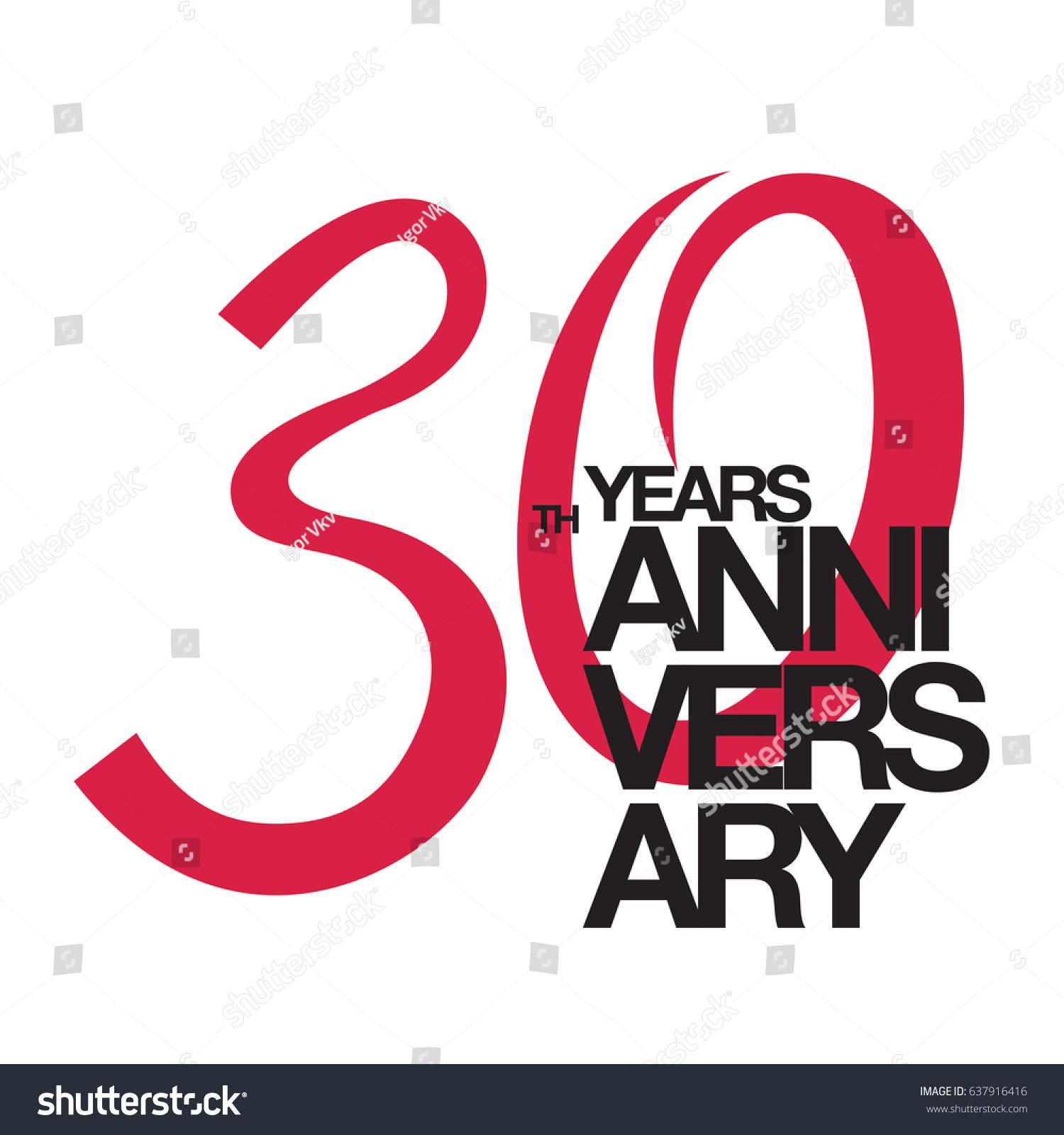 30th Anniversary Emblem Thirty Years Anniversary Stock Vector