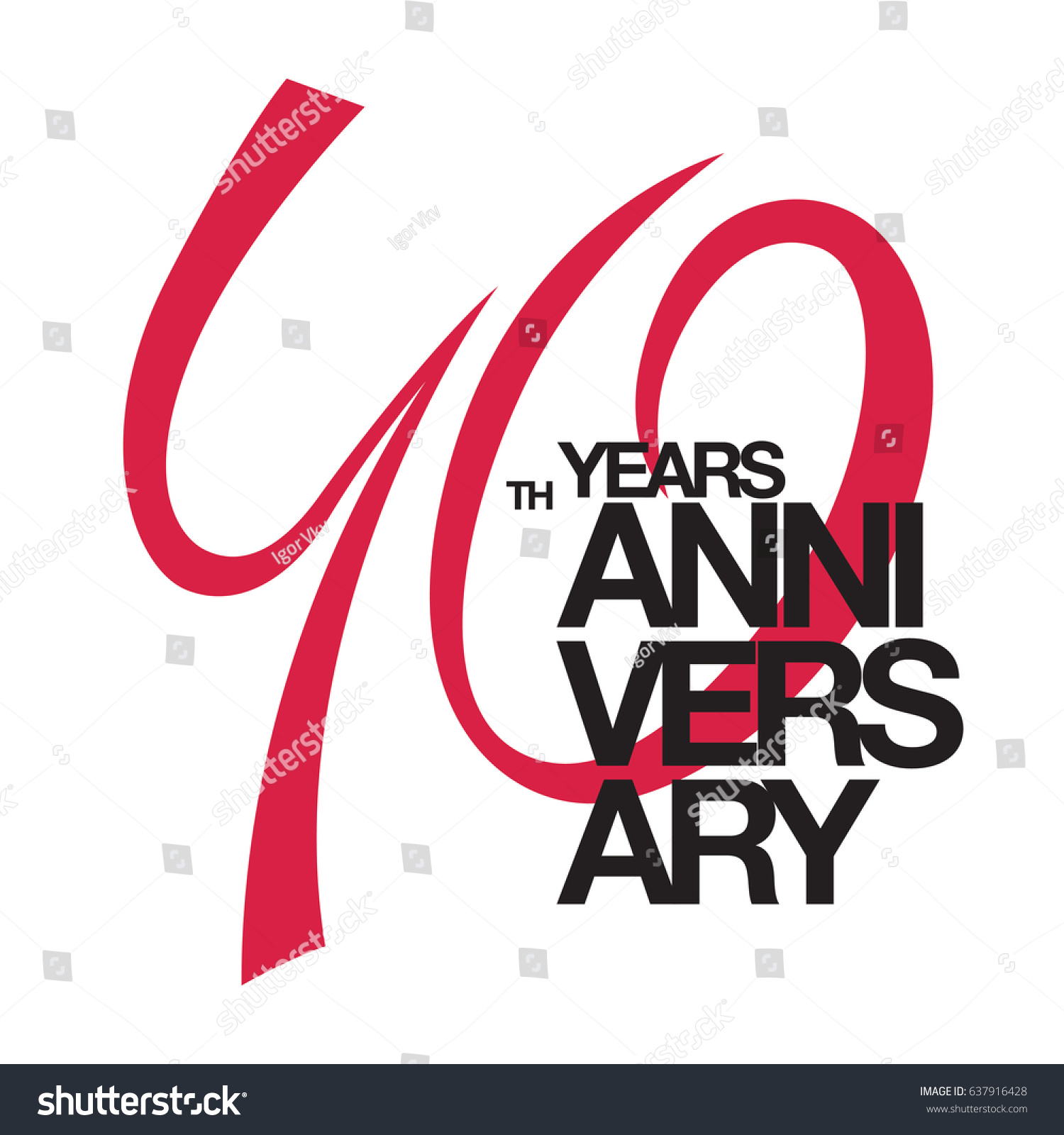 40th Anniversary Emblem Forty Years Anniversary Stock Vector