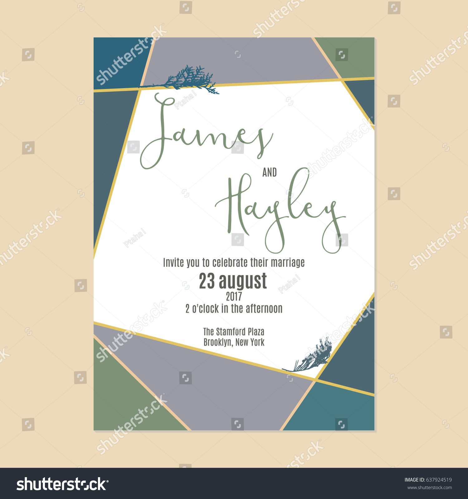 Green Blue Geometry Branches Thuya Wedding Stock Vector 637924519 ...