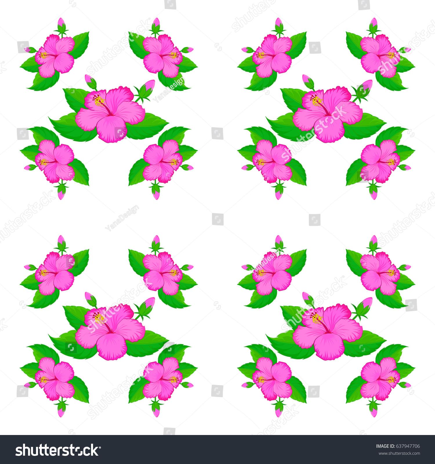 Bright Painting Inspired Hibiscus Flower Print Stock Photo Photo