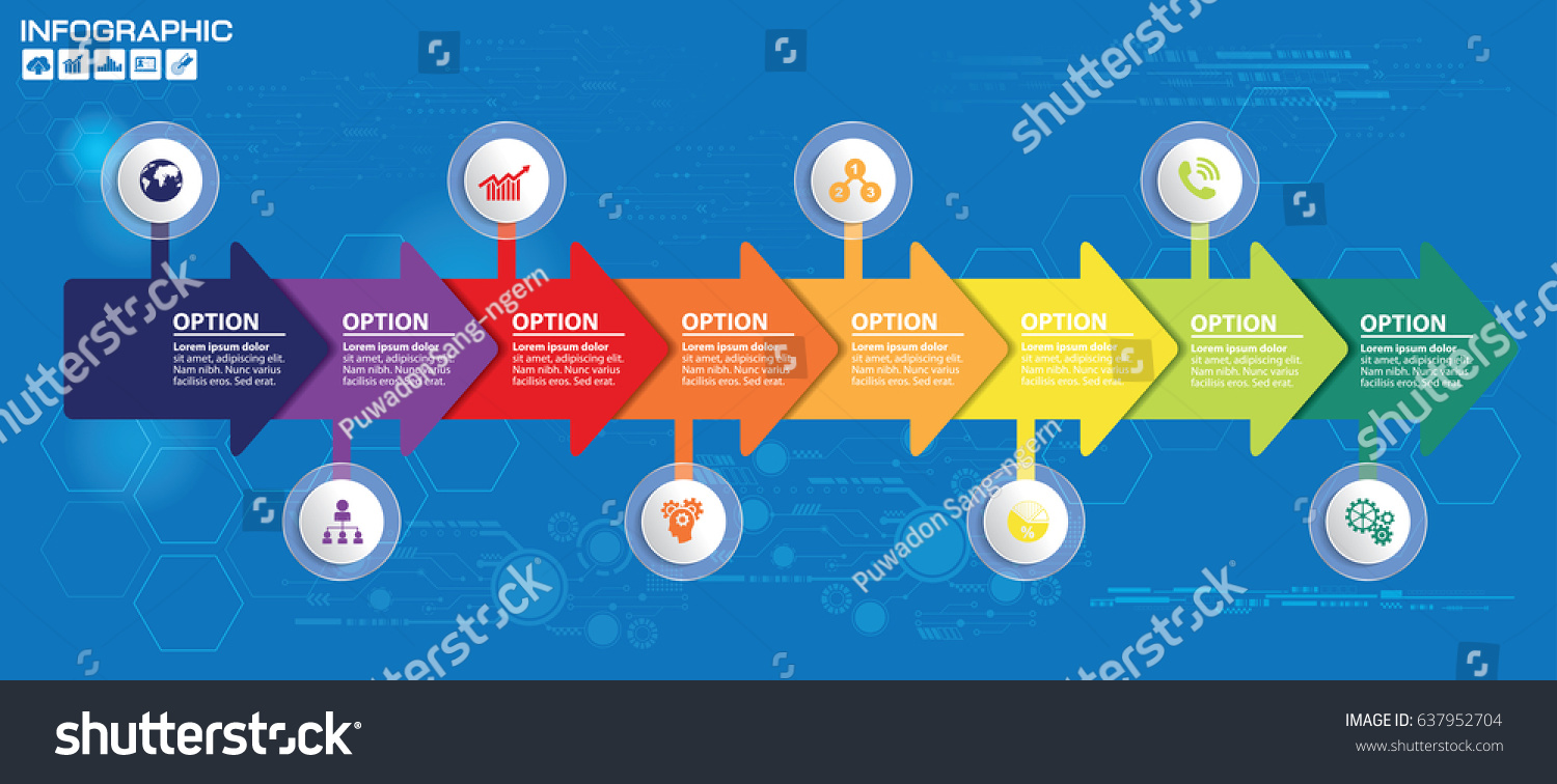 Timeline arrow vector infographic world map stock vector 637952704 timeline and arrow vector infographic world map background gumiabroncs Gallery