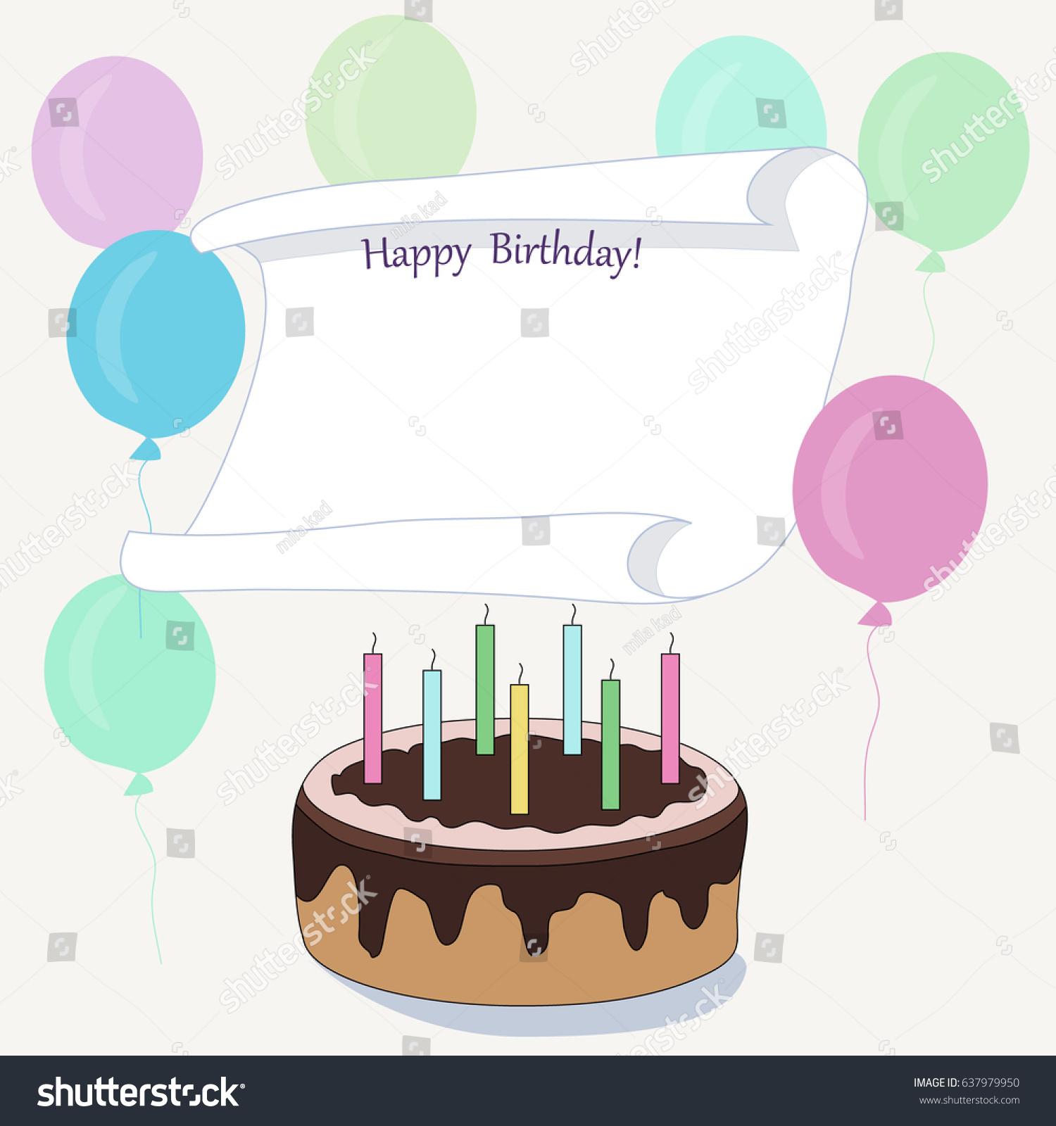 Vector Of Birthday Card With Space For Text Cake And Balloons
