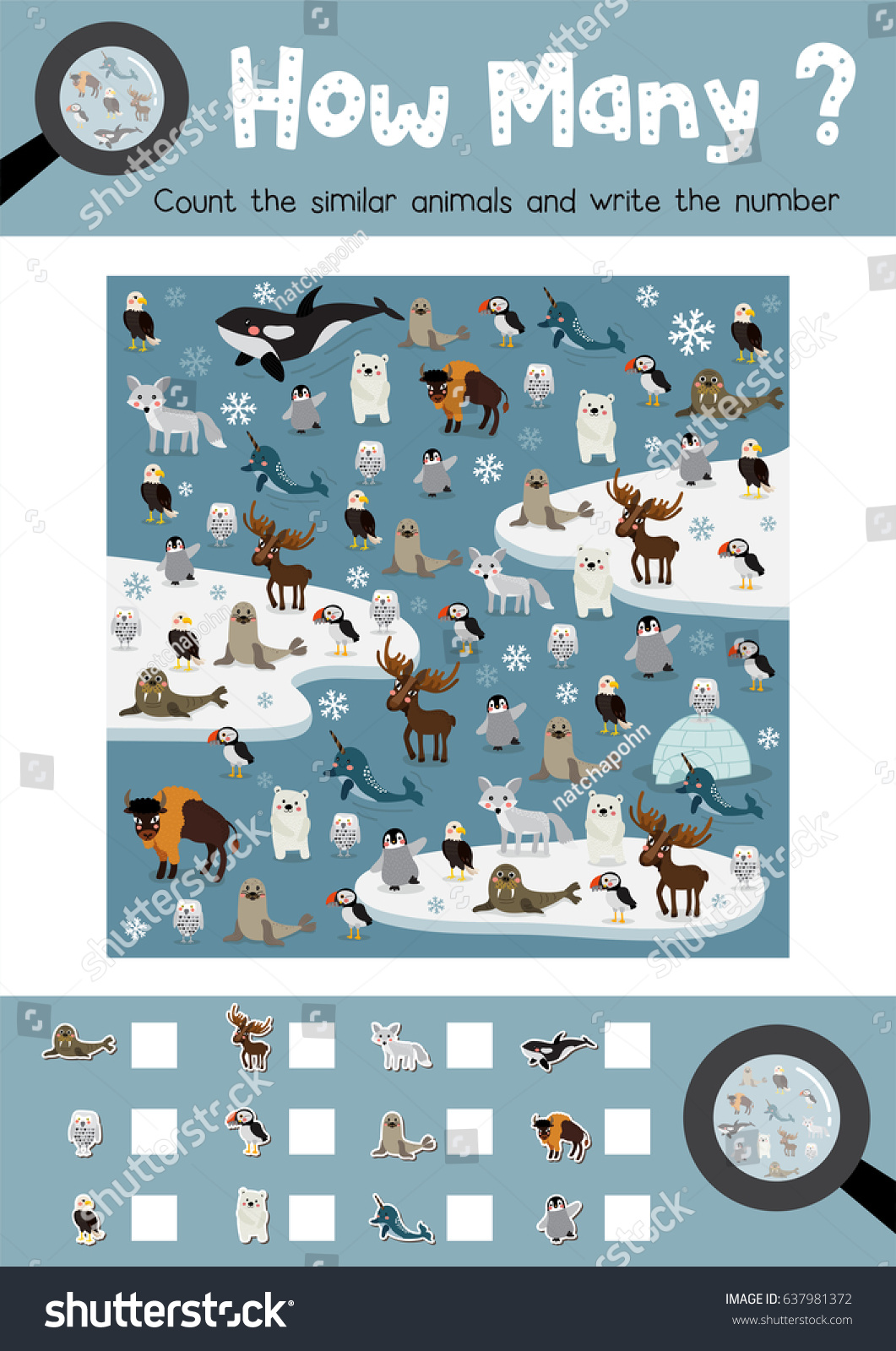 Counting Game Arctic Animals Preschool Kids Stock Vector 637981372 ...