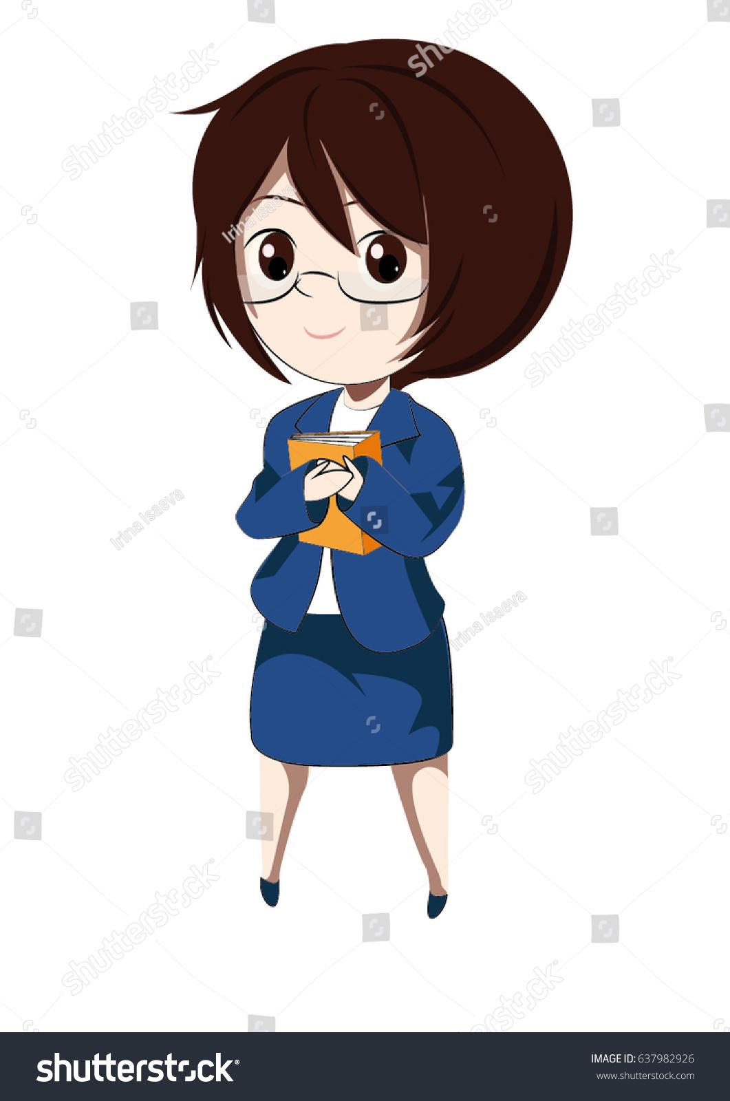Woman Brown Hair Hazel Eyes Blue Stock Vector Royalty Free 637982926