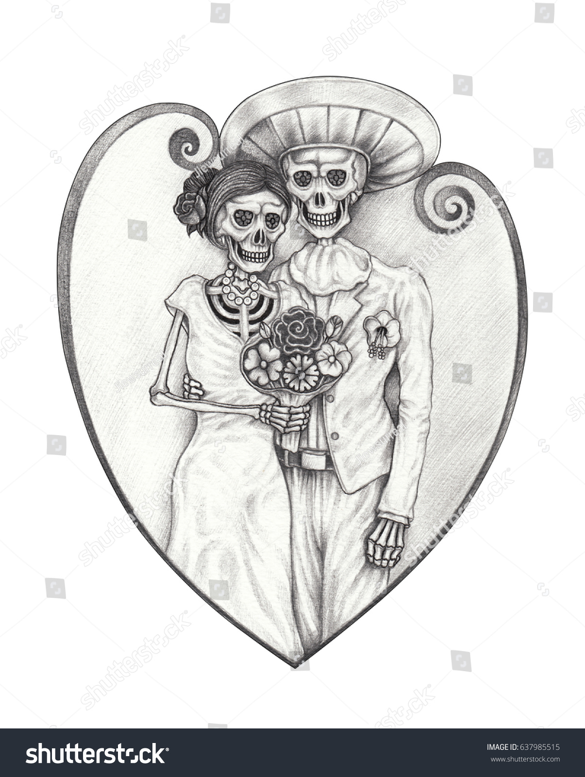 3e428b16b Art wedding skulls day of the dead. Hand pencil drawing on paper.