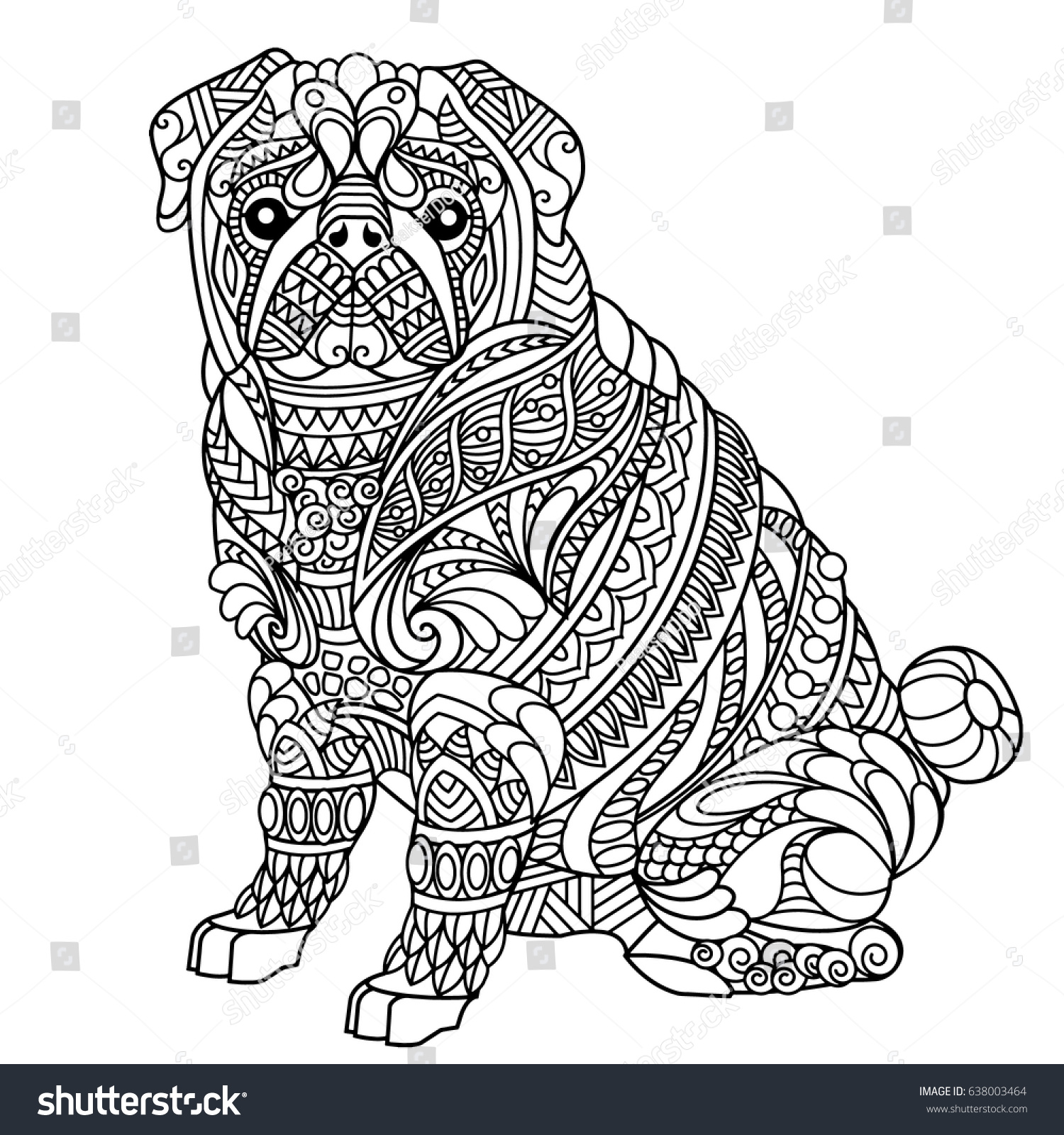 Pug Coloring Book Adults Stock Vector HD (Royalty Free) 638003464 ...