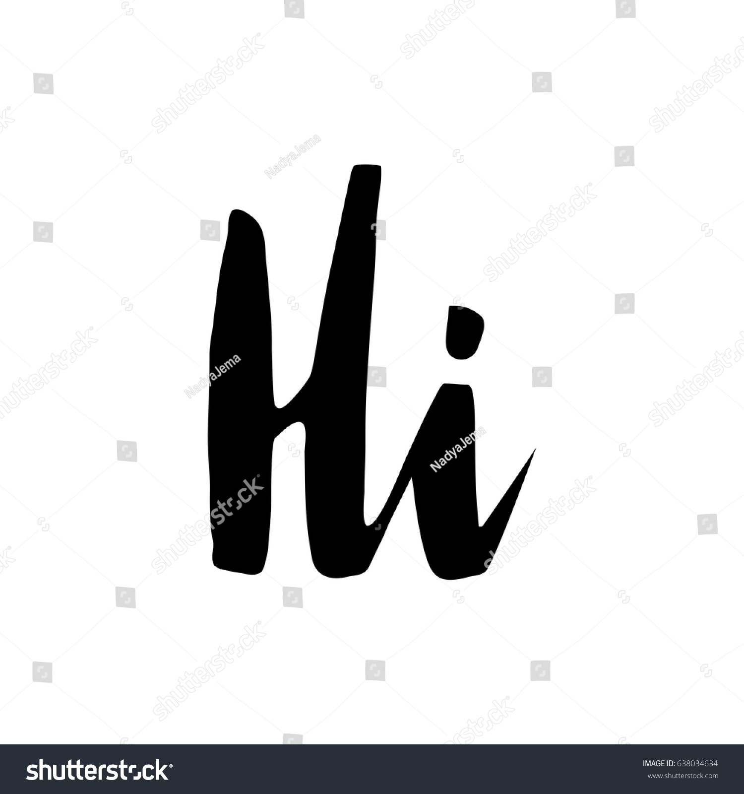 Hand Lettering Word Hi Hello Isolated Stock Vector Royalty Free
