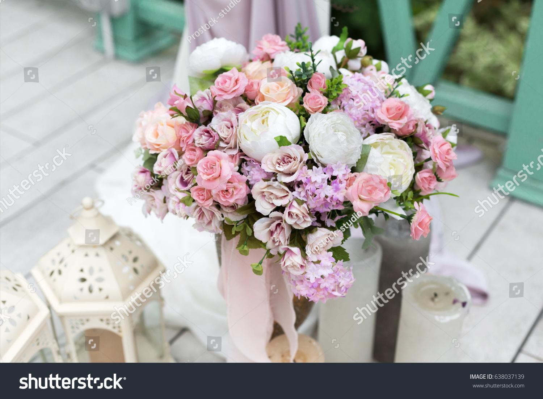 Wedding Reception Flower Decorations Rustic Style Stock Photo Edit