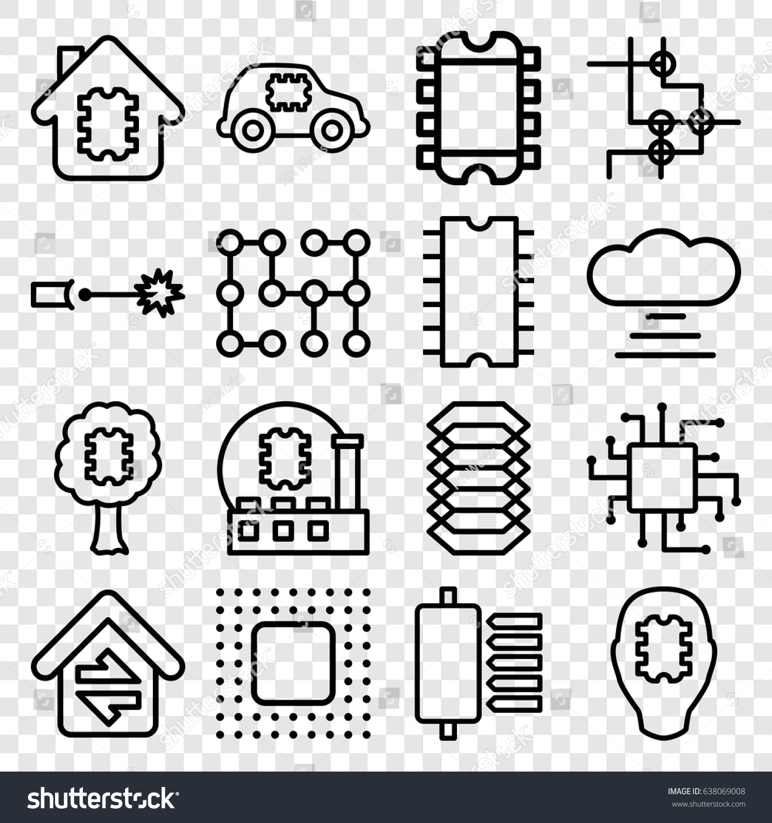 Circuit Icons Set Set 16 Circuit Stock Vector 638069008 - Shutterstock