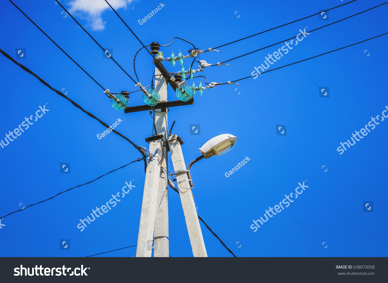 Tangle Of Electrical Wires On Power Pole Overhead Lines