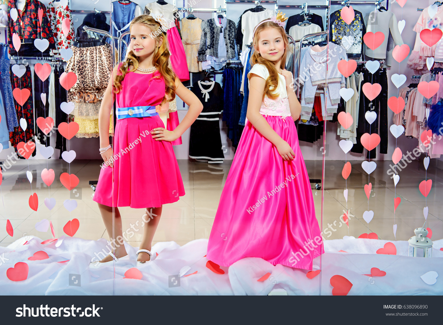fd47d1383 Two Cute Little Girls Beautiful Dresses Stock Photo (Edit Now ...