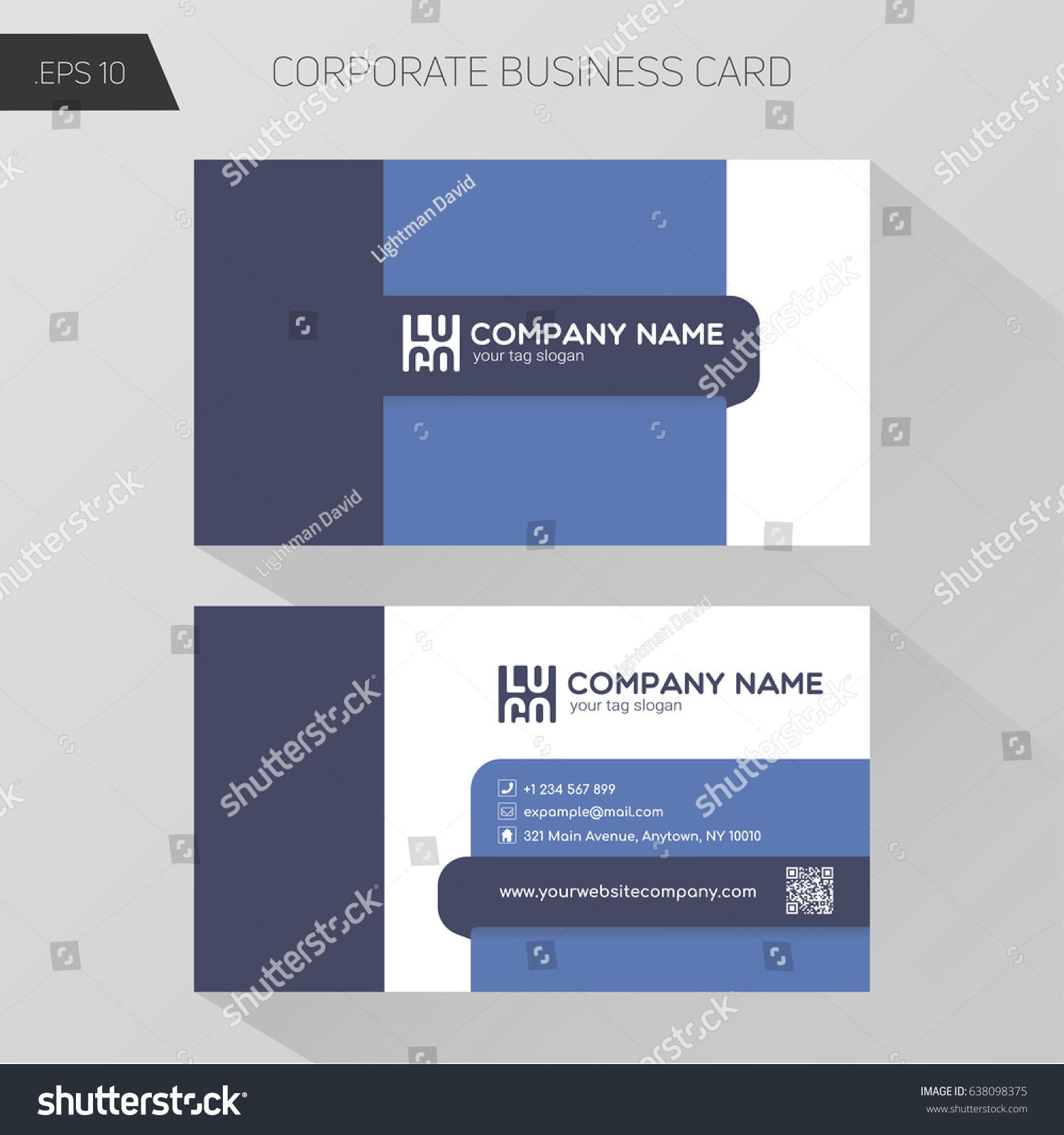 Corporate Business Card Template Front Bottom Stock Vector ...