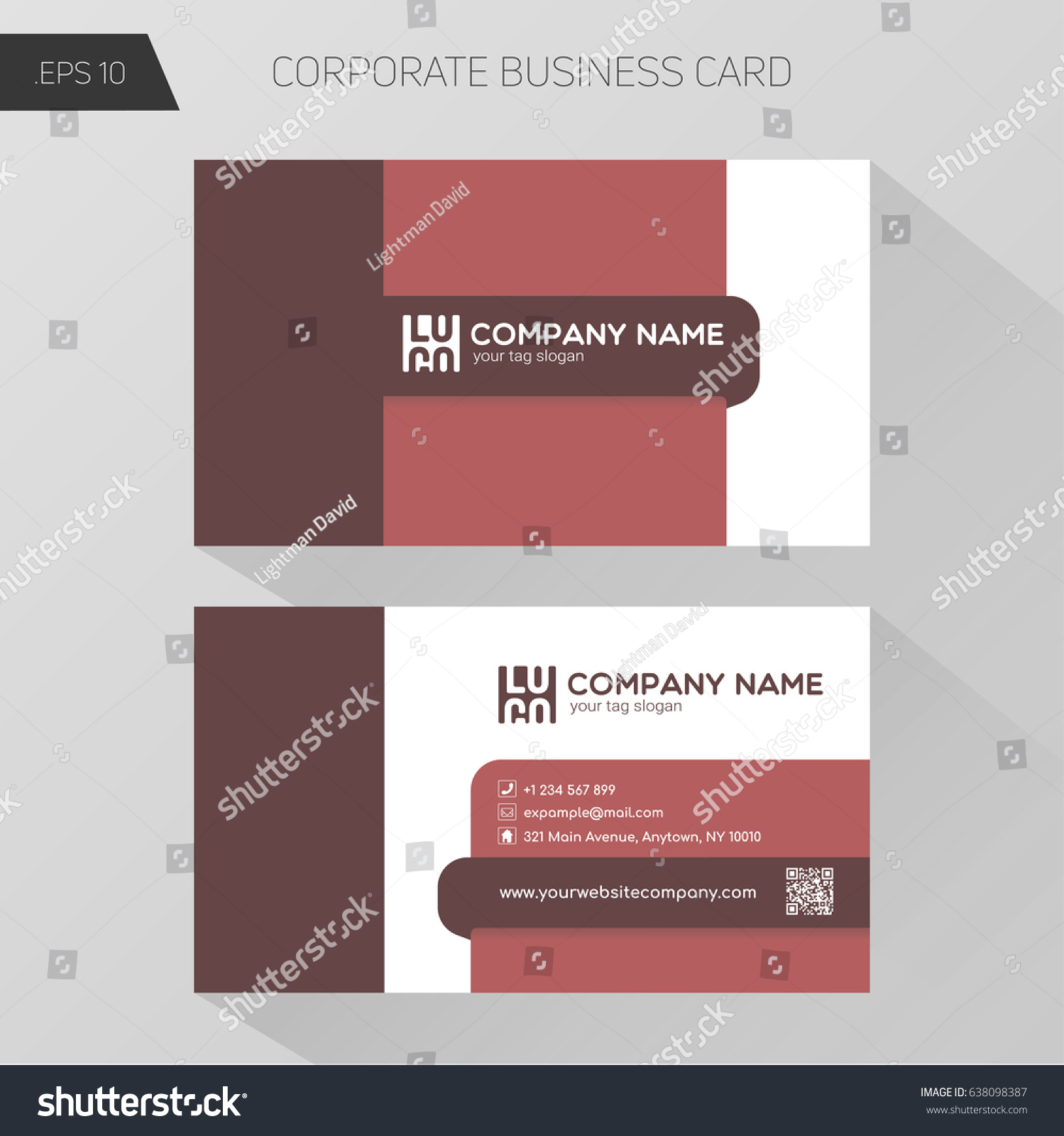 corporate business card template front bottom stock vector