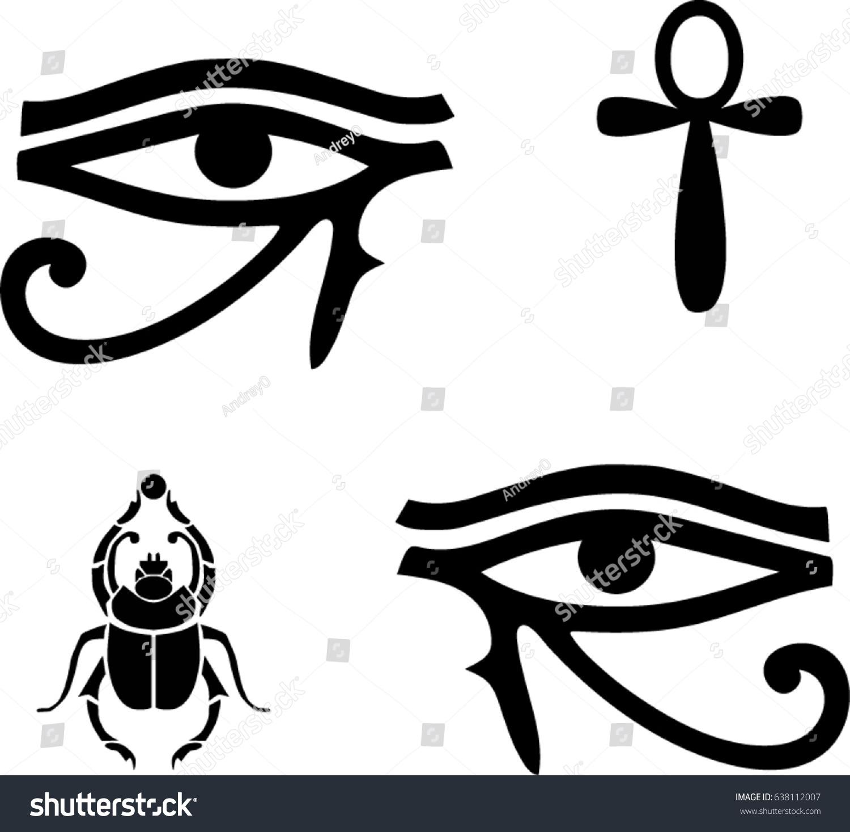 Egyptian vector symbols eye ra ankh stock vector 638112007 egyptian vector symbols eye of ra ankh scarab and eye of horus buycottarizona