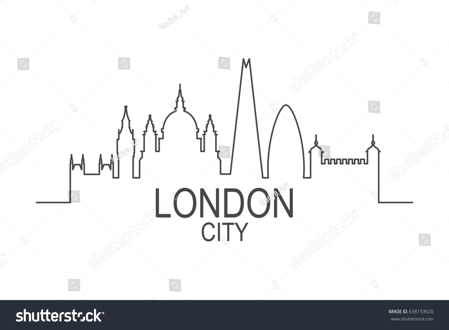 London City Skyline Vector Illustration Of Simple Line Silhouette Modern Design Isolated