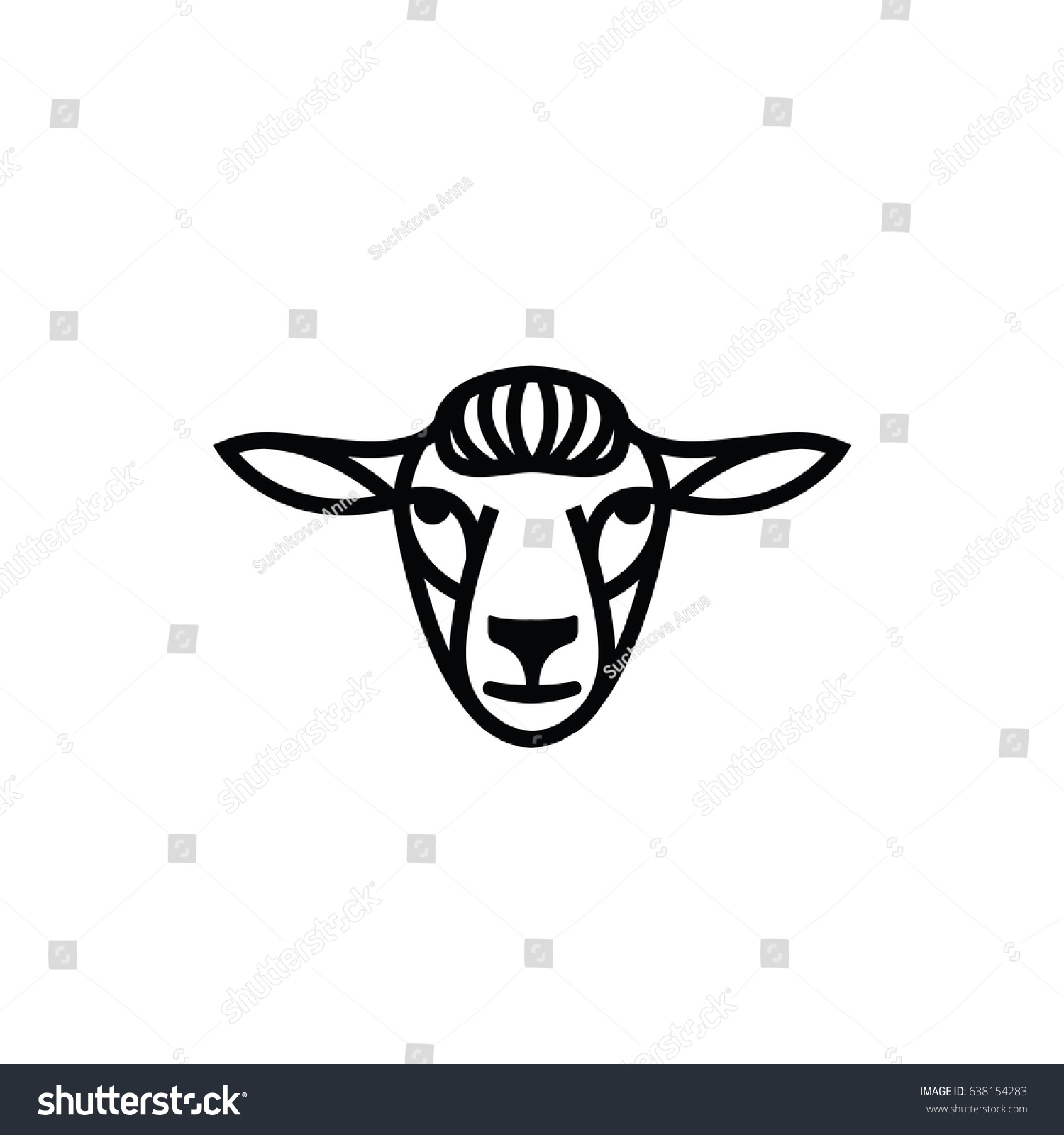 Linear Stylized Drawing Head Sheep Ram Stock Vector HD (Royalty Free ...